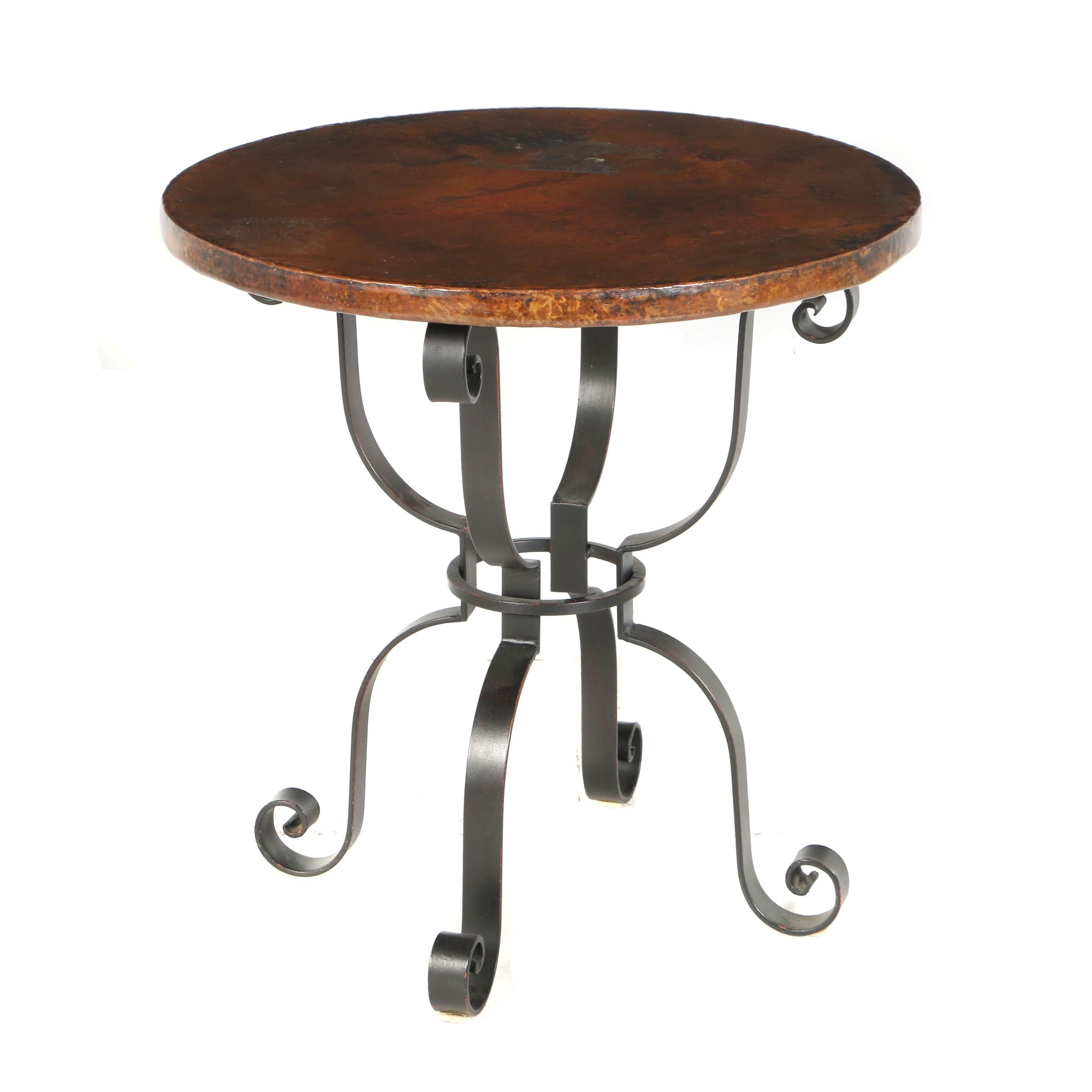 "Contemporary ""Arhaus"" Hand Hammered Copper and Iron Round Side Table, Mexico"