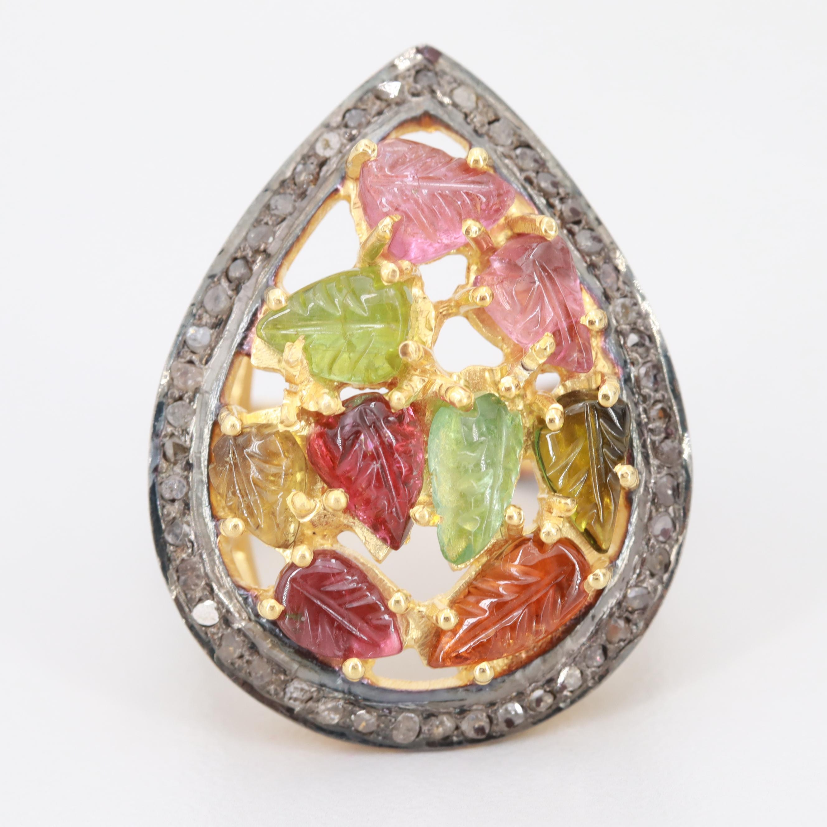 Sterling Silver Tourmaline and Diamond Ring With Gold Wash Accents