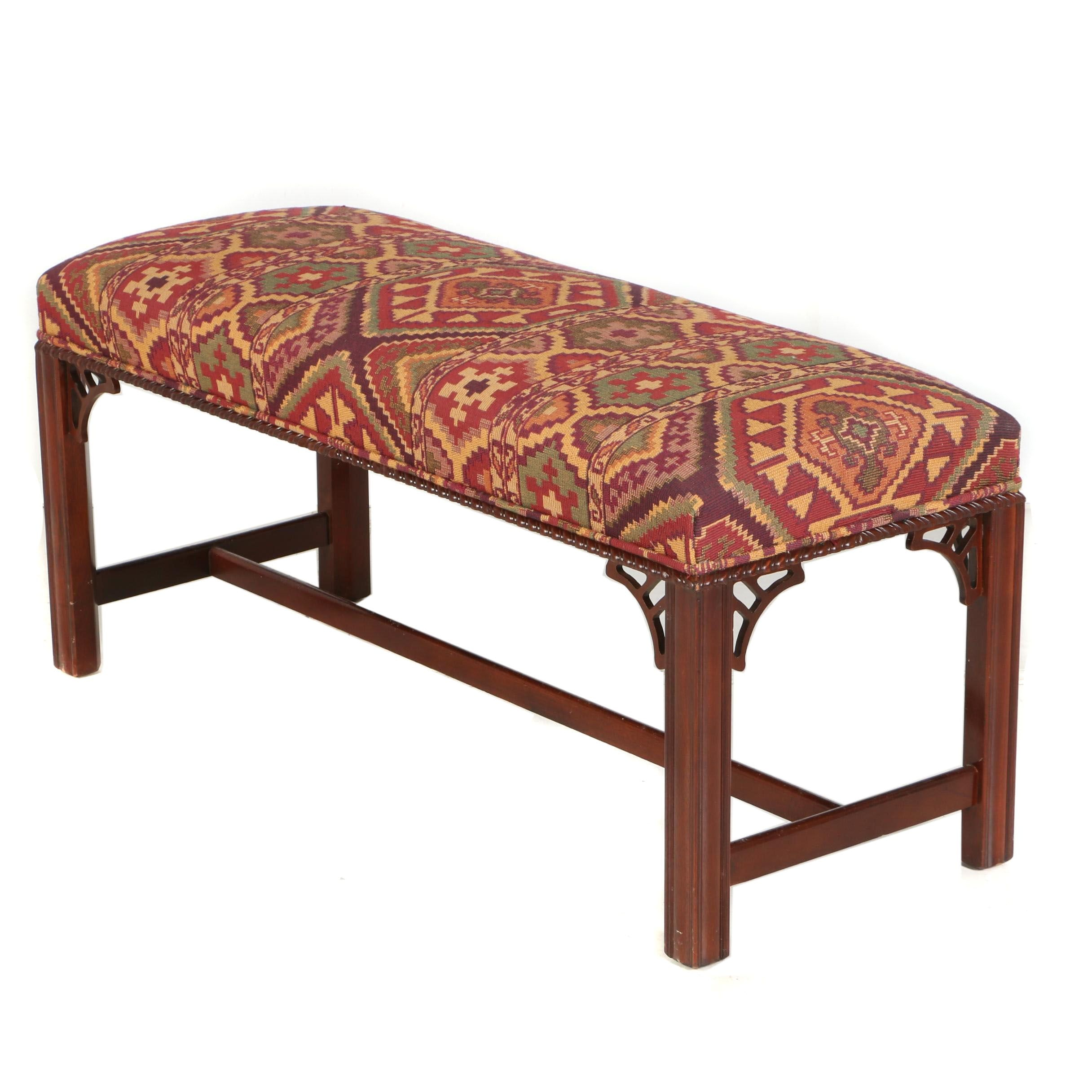 George III Style Mahogany Bench by Hickory Chair, 20th Century
