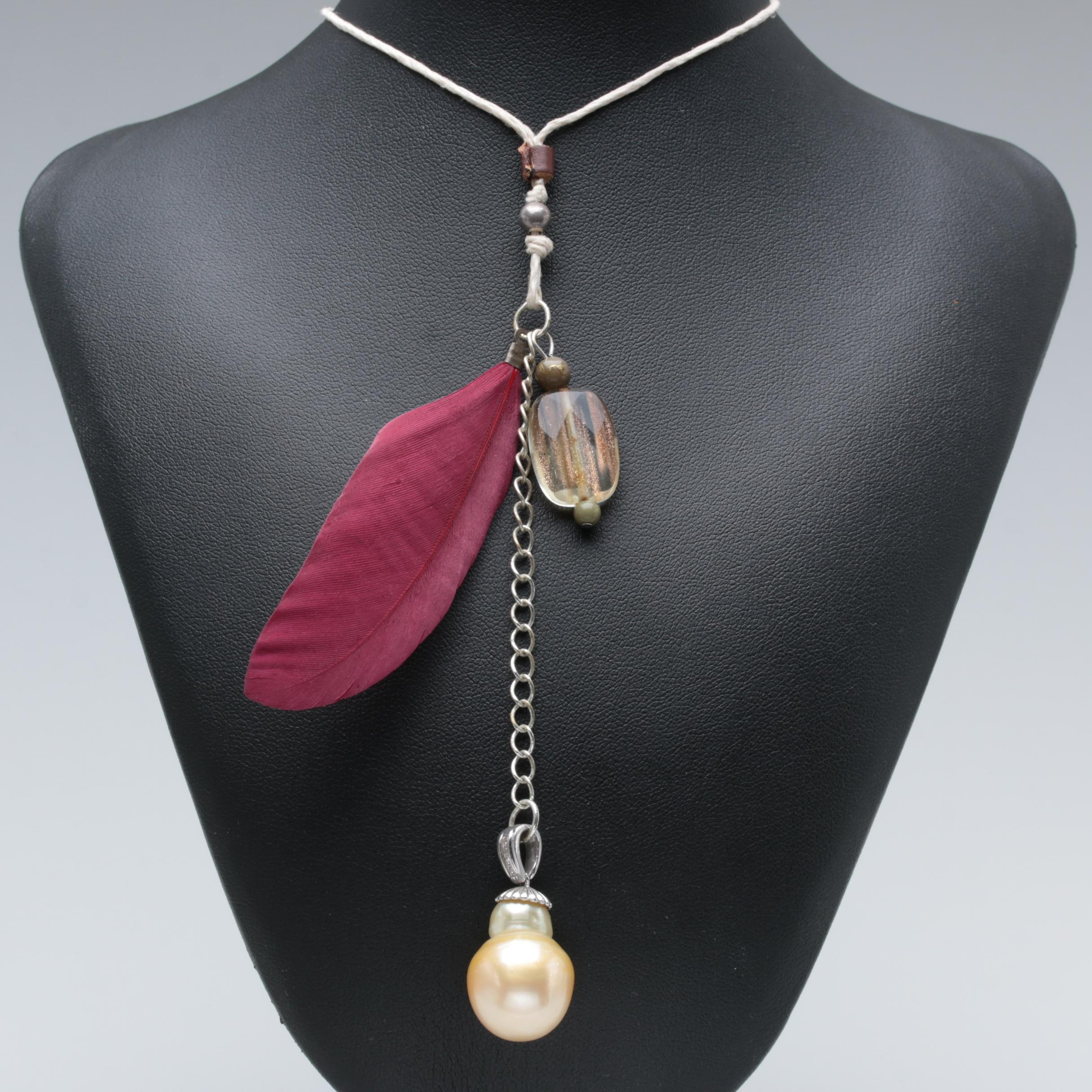 Assemblage Necklace Featuring Glass Bead and Sterling Cultured Pearl Pendant