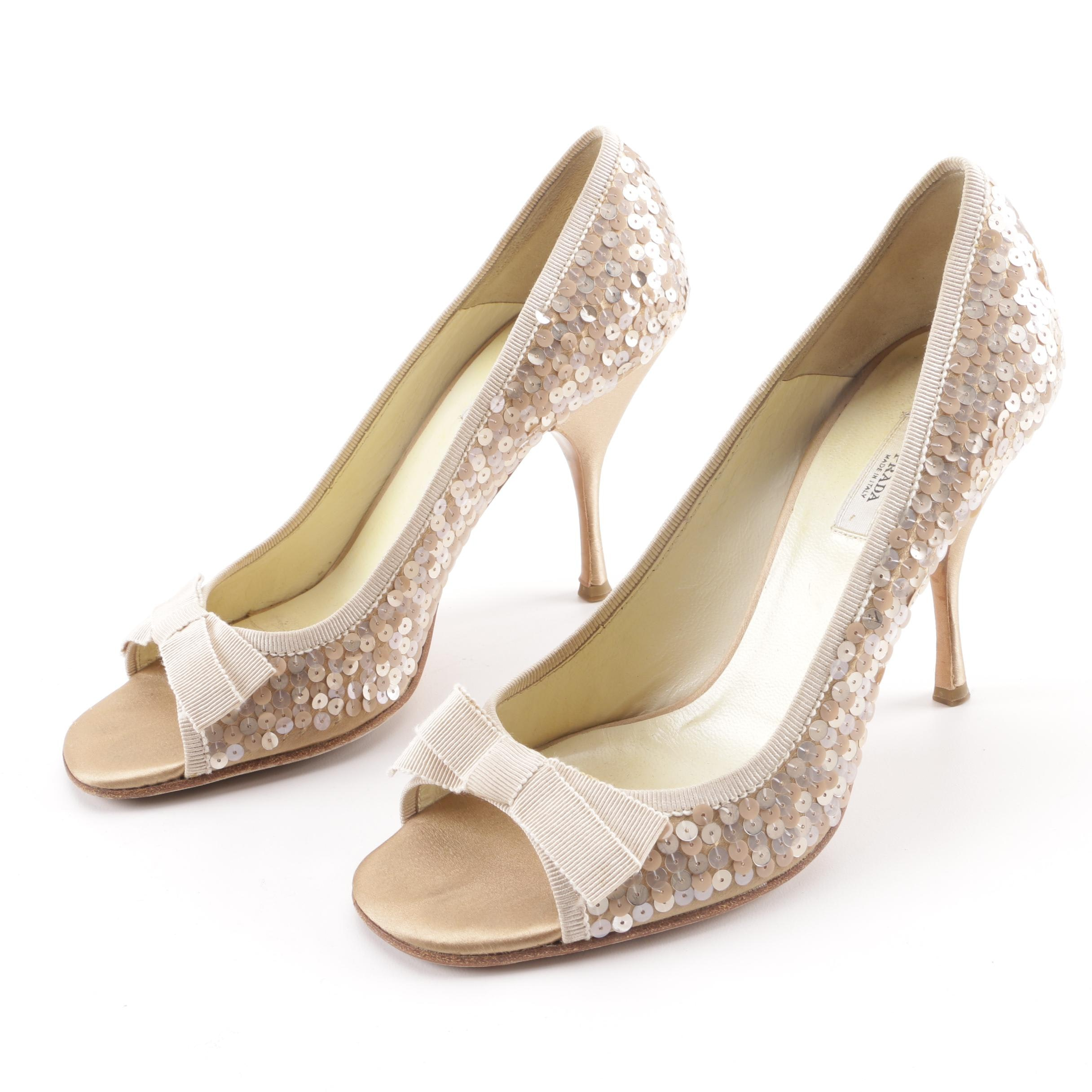 Prada Champagne Sequined Open-Toe Dress Pumps with Bow Accents