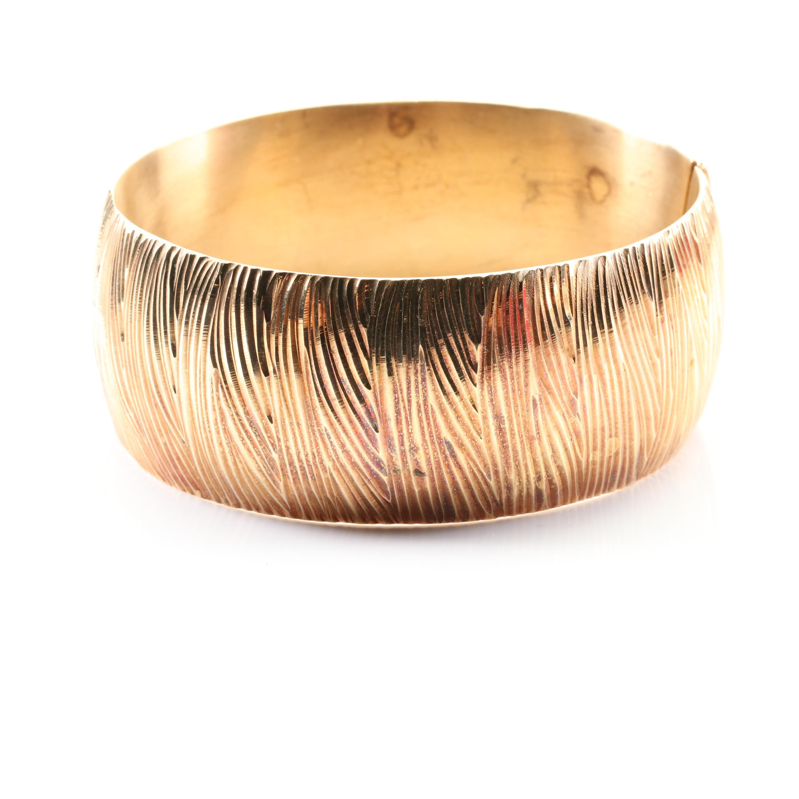 Sterling Silver Textured Bangle with Yellow Gold Wash