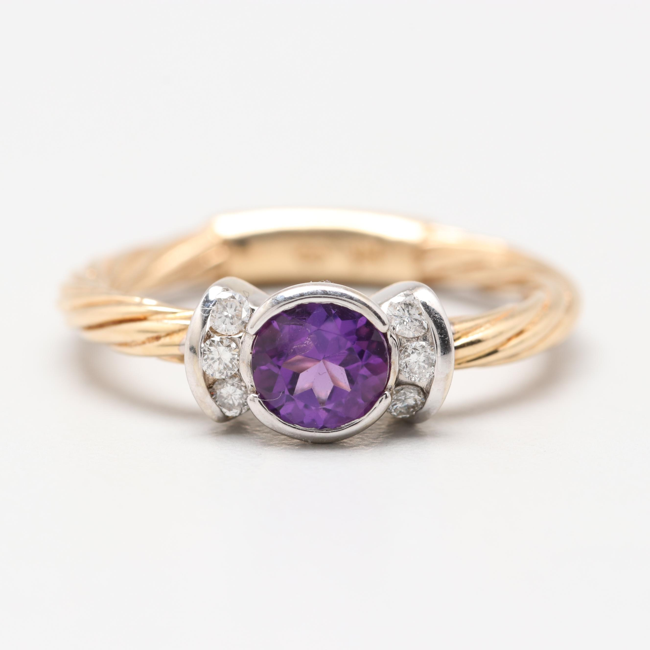 14K Yellow Gold Amethyst and Diamond Textured Ring
