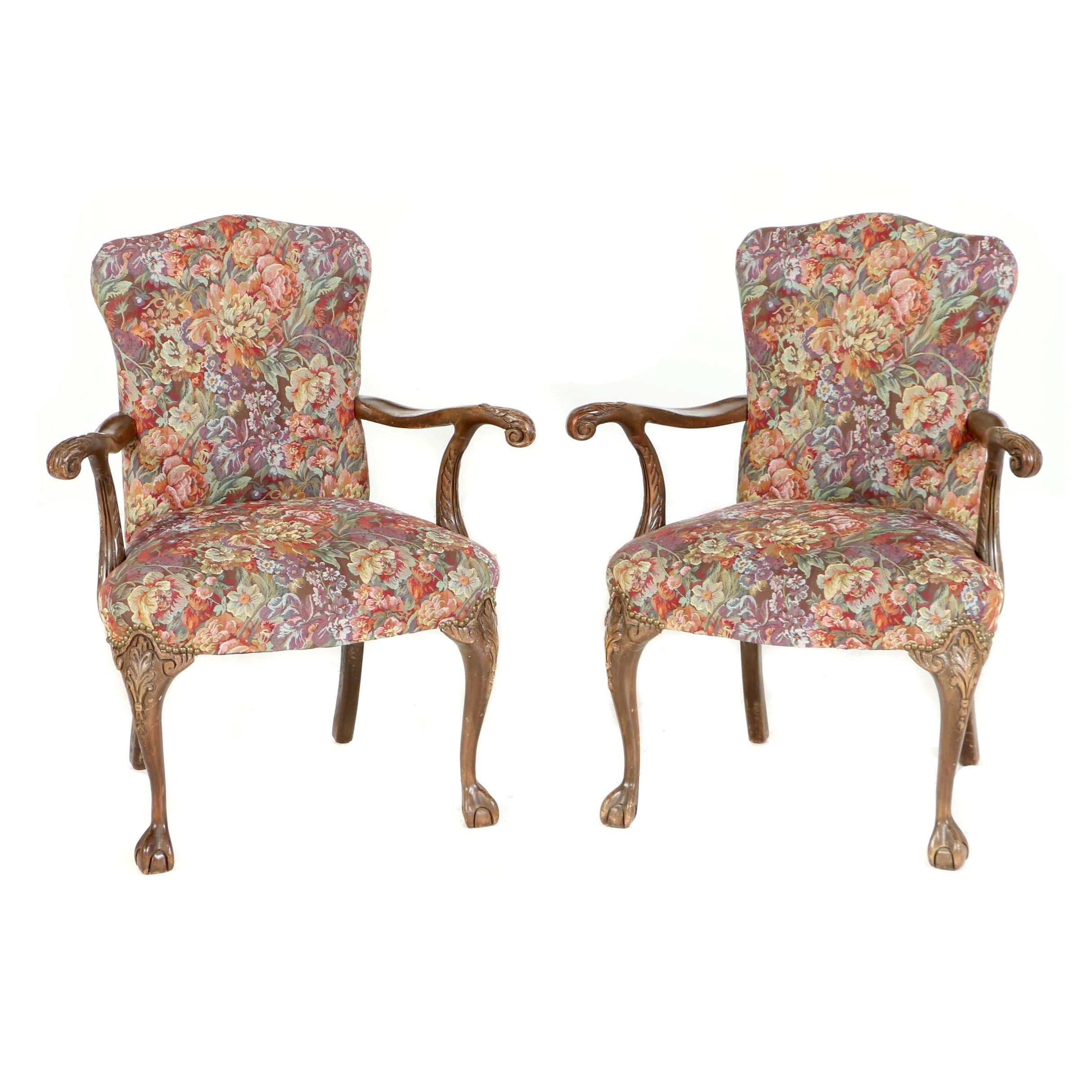 Pair of George III Style Mahogany-Stained Open Armchairs, 20th Century