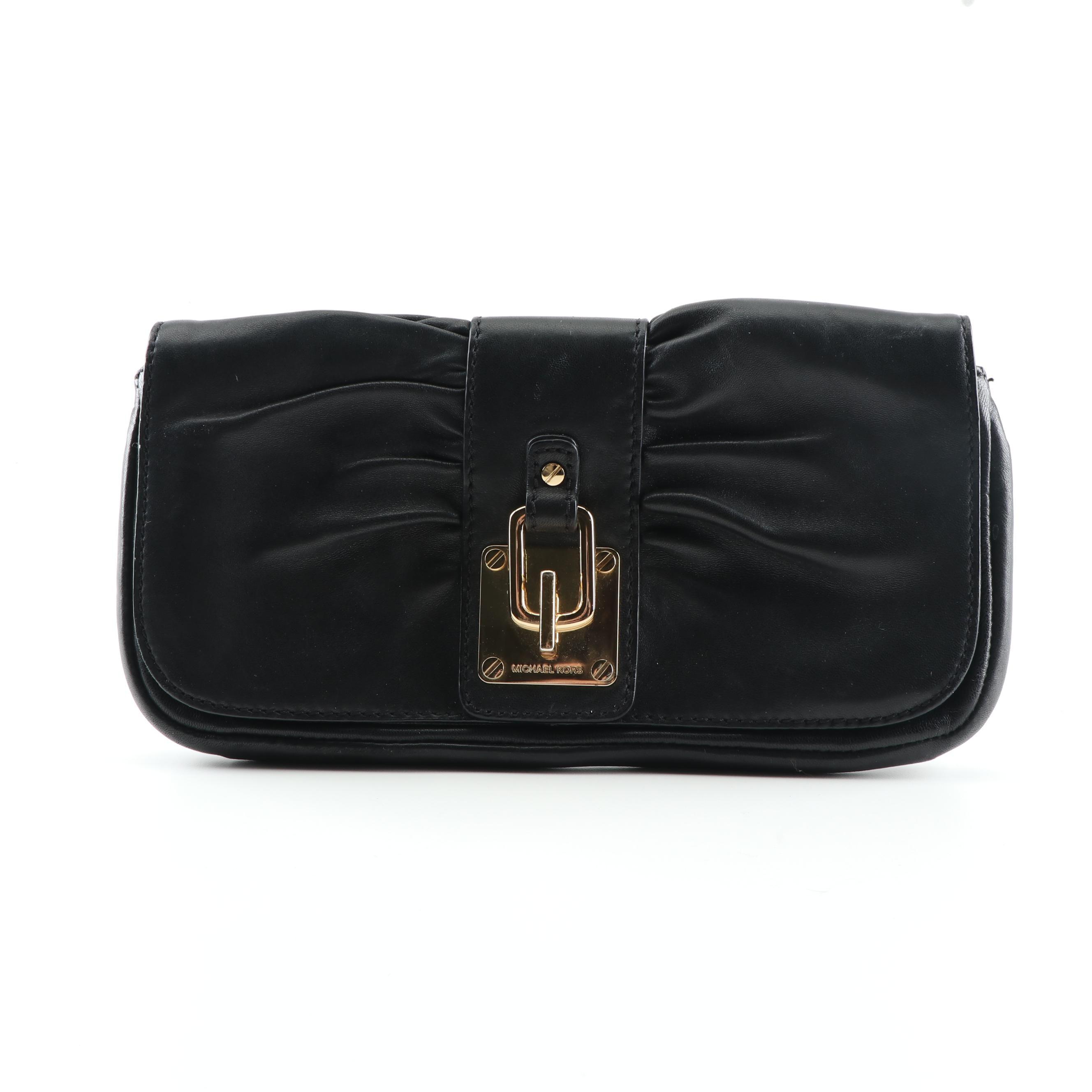 MICHAEL Michael Kors Black Leather Clutch