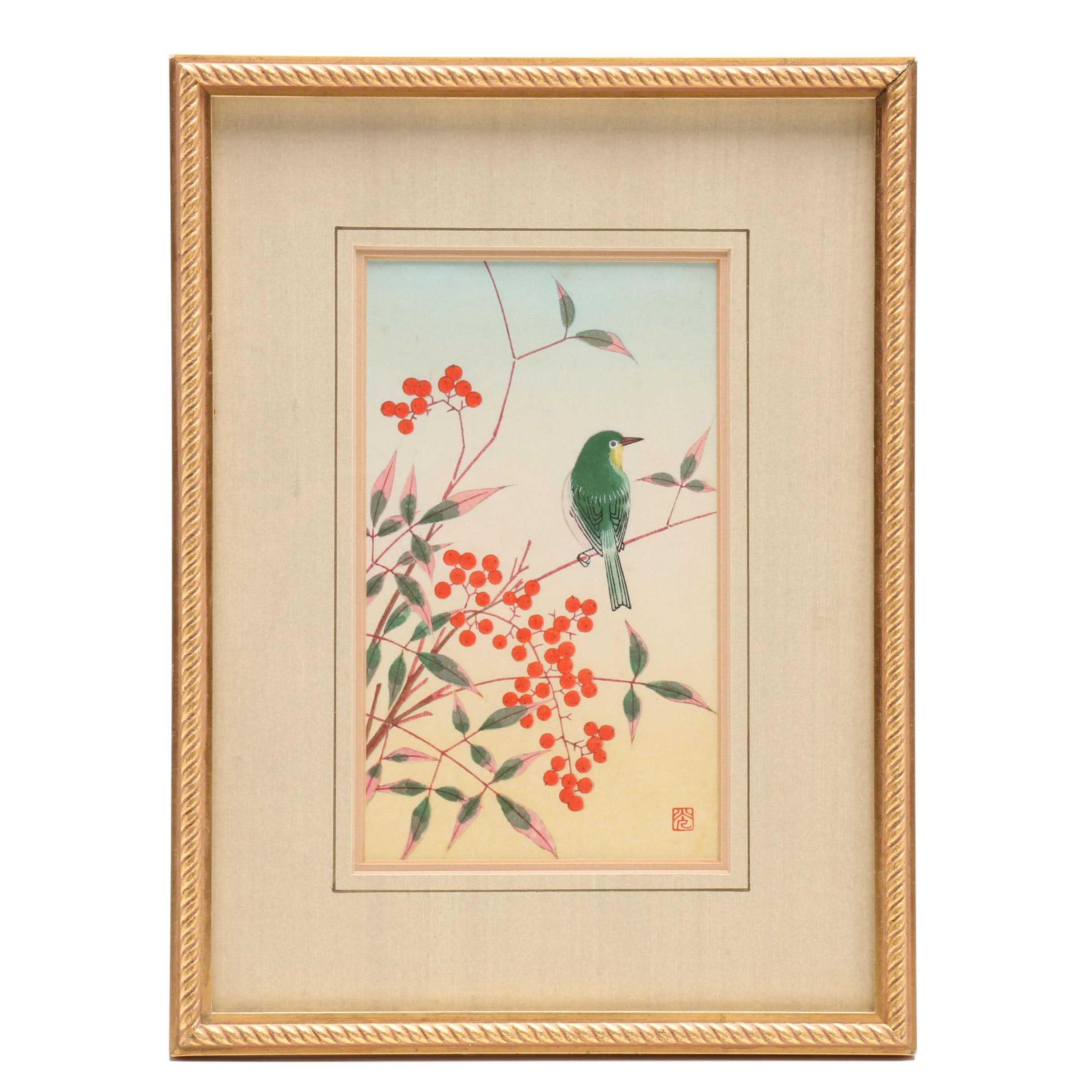 Japanese Woodblock Print of Bird on Branch with Berries