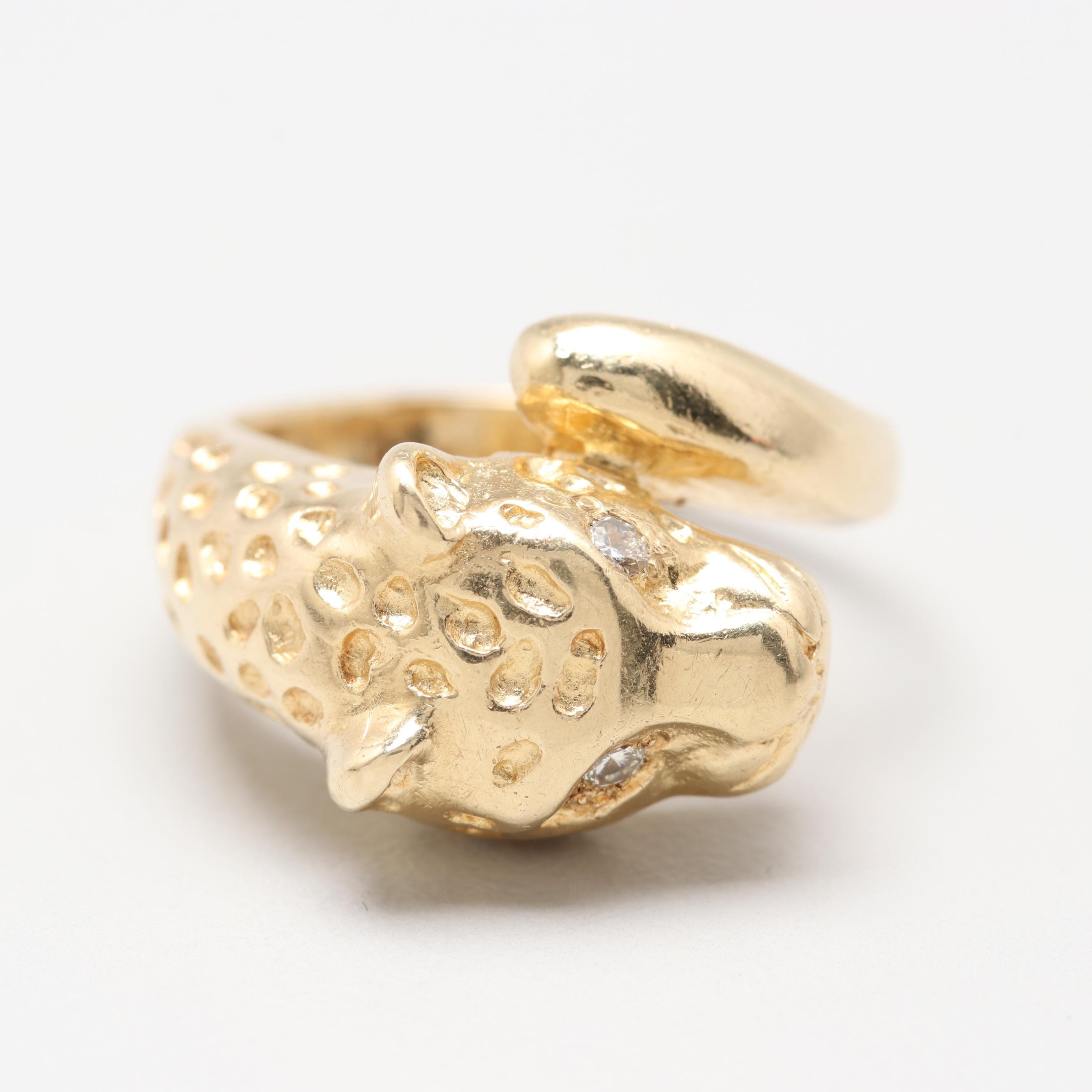 14K Yellow Gold Diamond Figural Leopard Bypass Ring