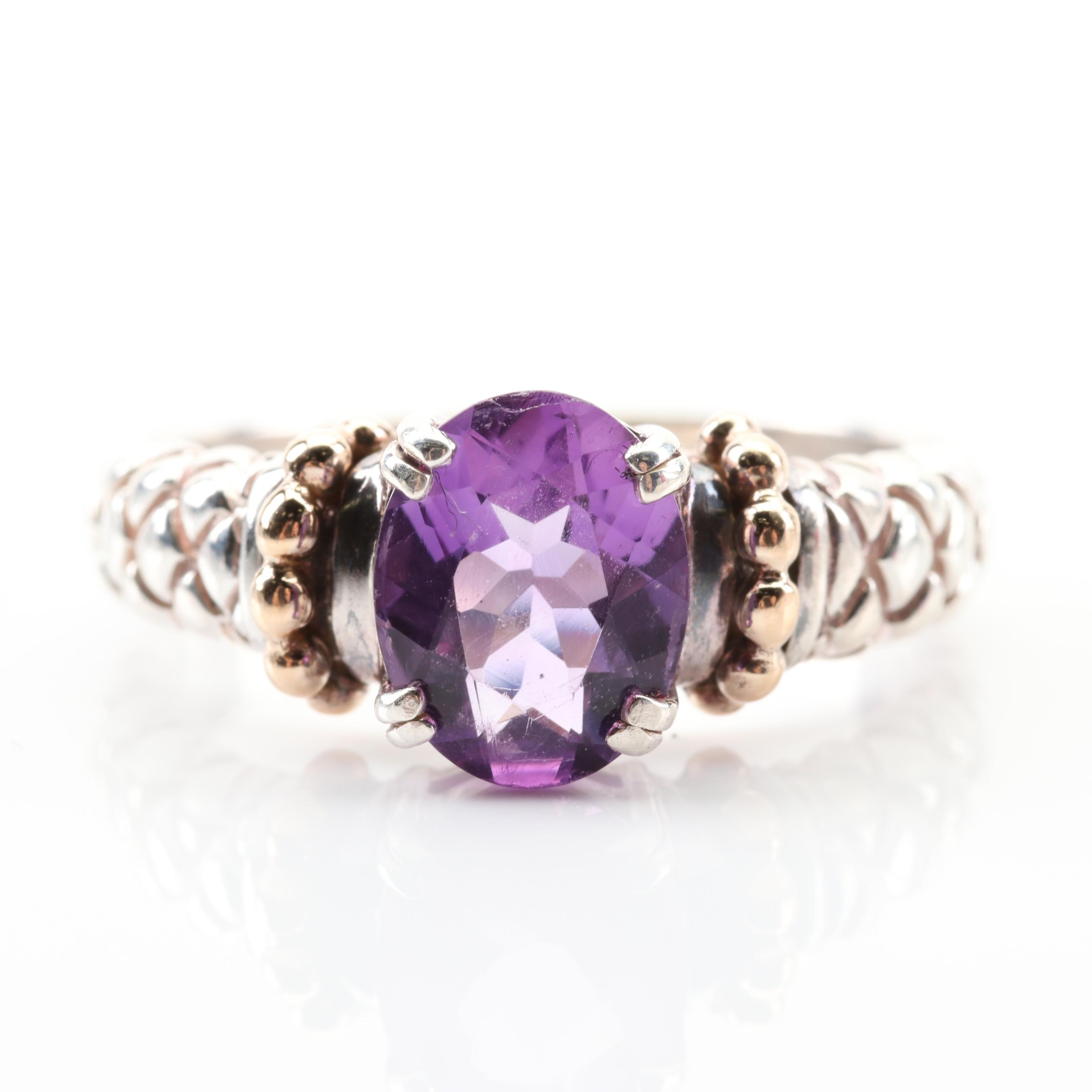 Clyde Duneier Sterling and 14K Yellow Gold Amethyst Ring with Beaded Accents