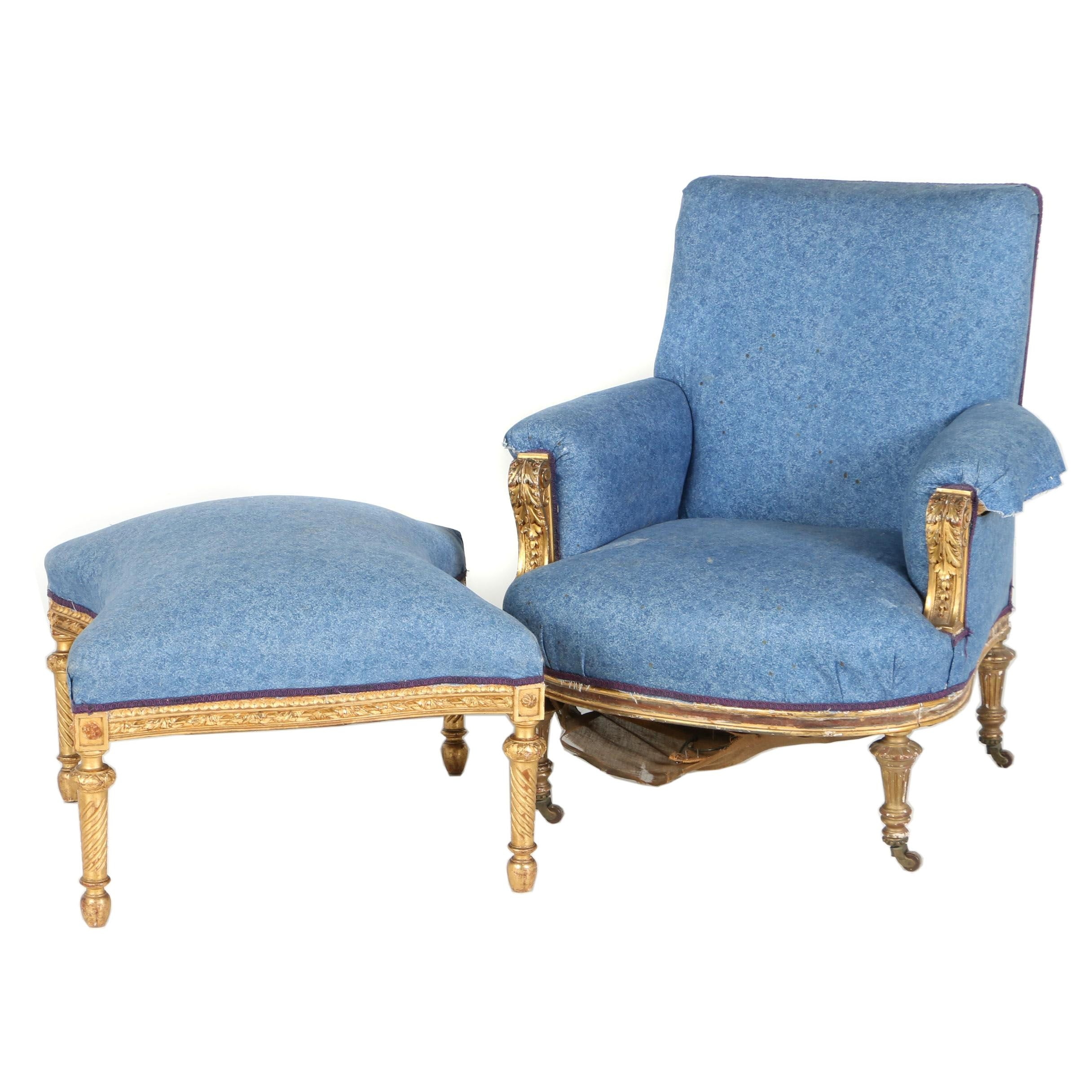 Victorian Giltwood Armchair with Neoclassical Style Footstool, Late 19th Century