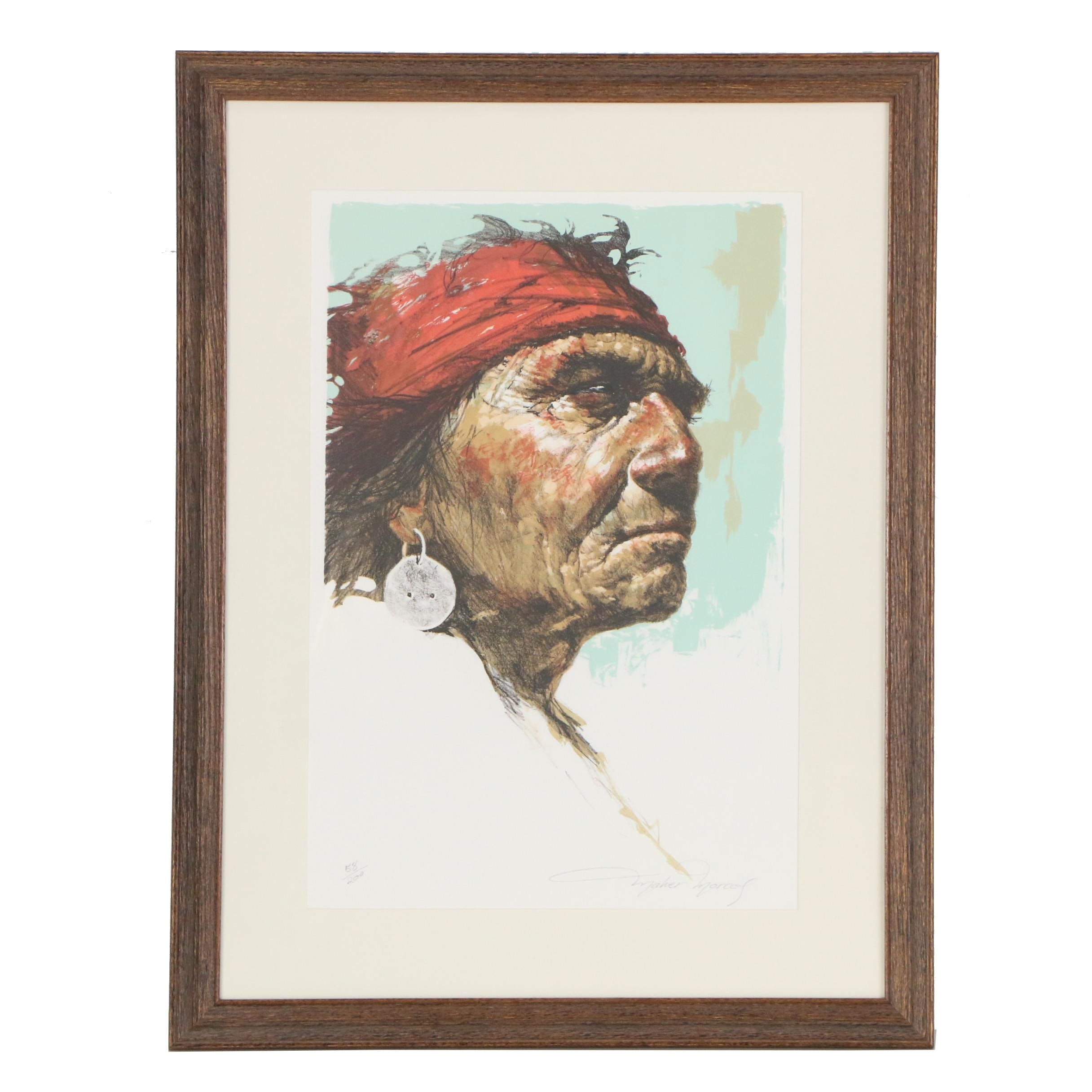 "Maher Morcos Color Lithograph ""Indian Head"""