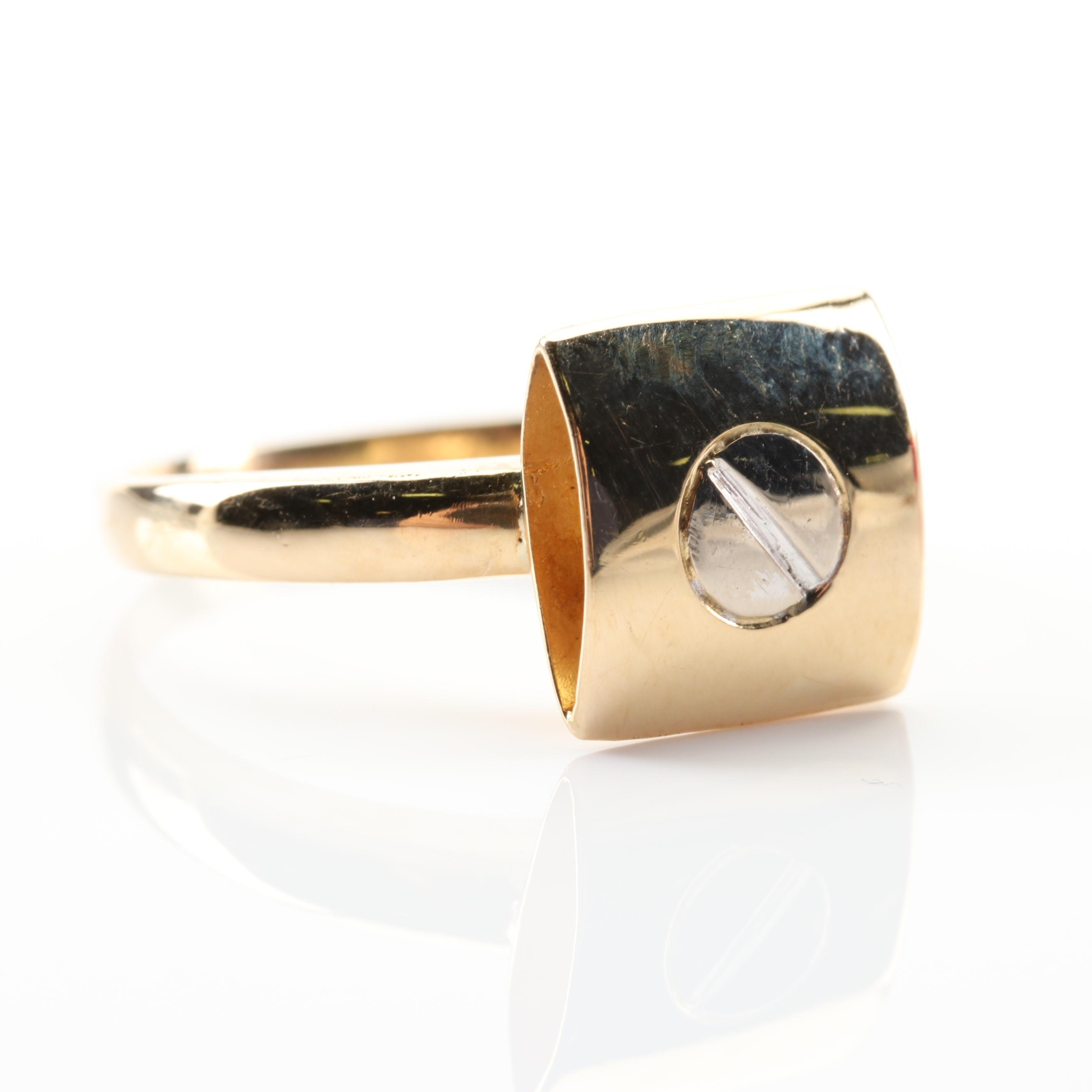 18K Yellow Gold Square Screw Ring