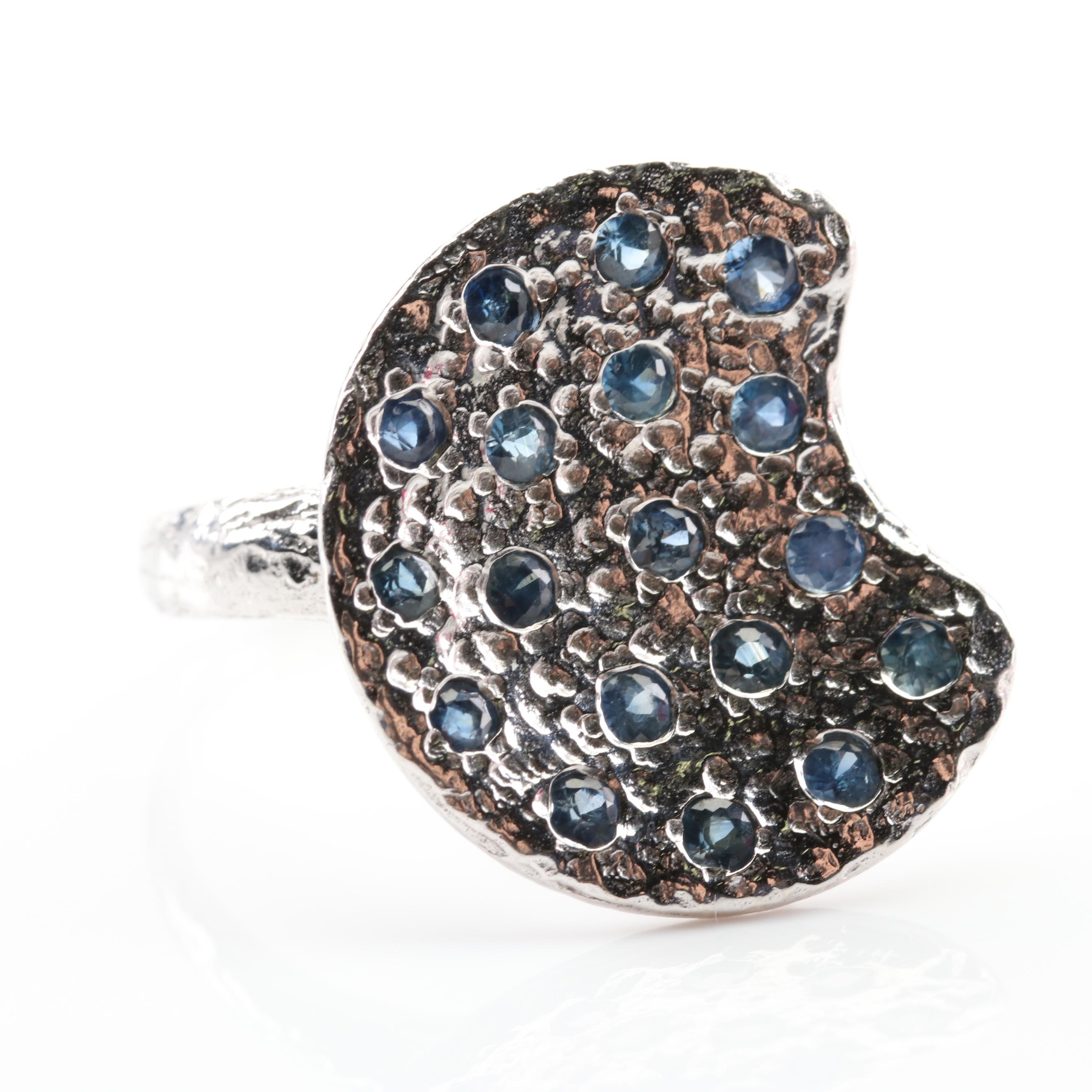 Sterling Silver Multi-Stone Sapphire Ring
