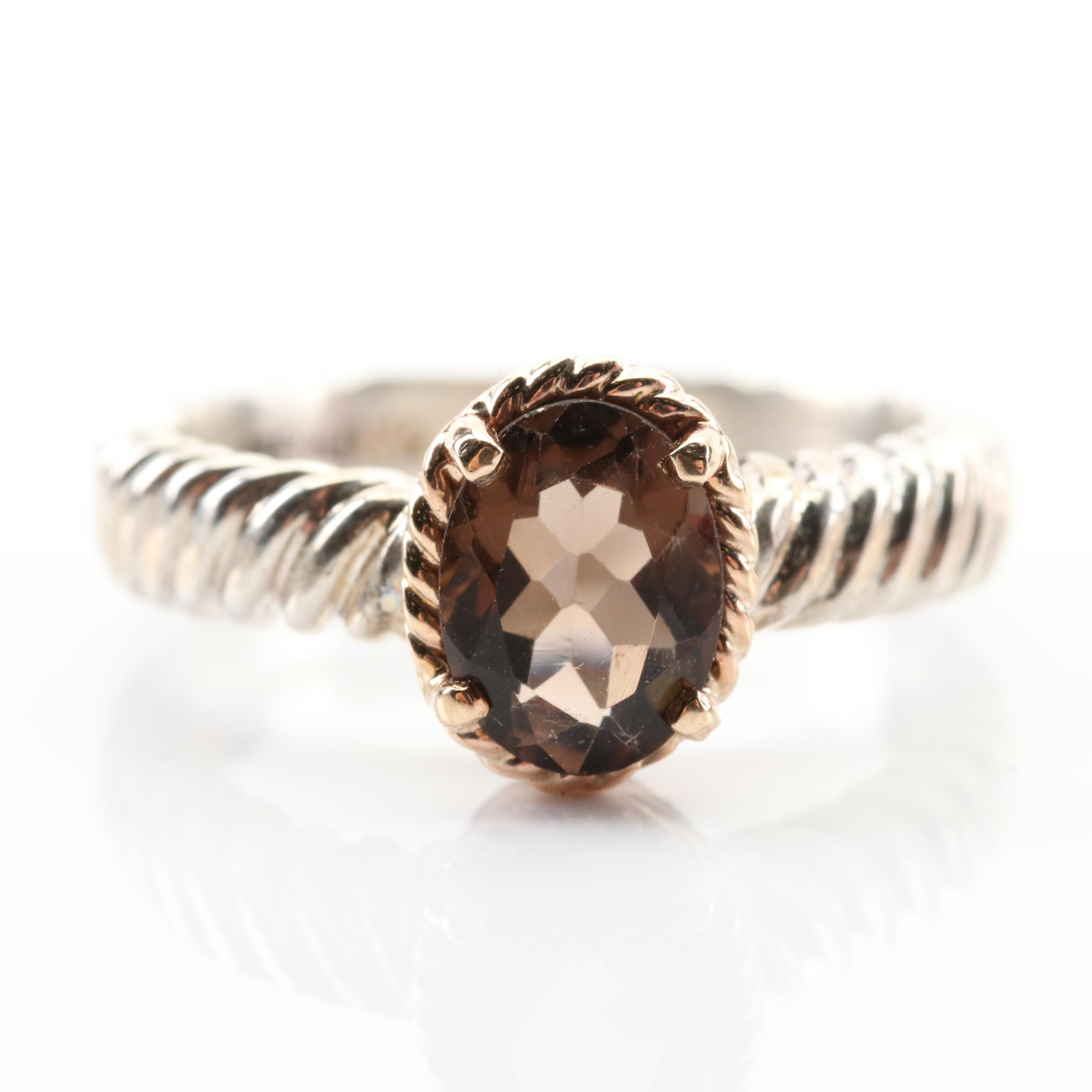10K Yellow Gold and Sterling Silver 1.24 CT Smoky Quartz Ring