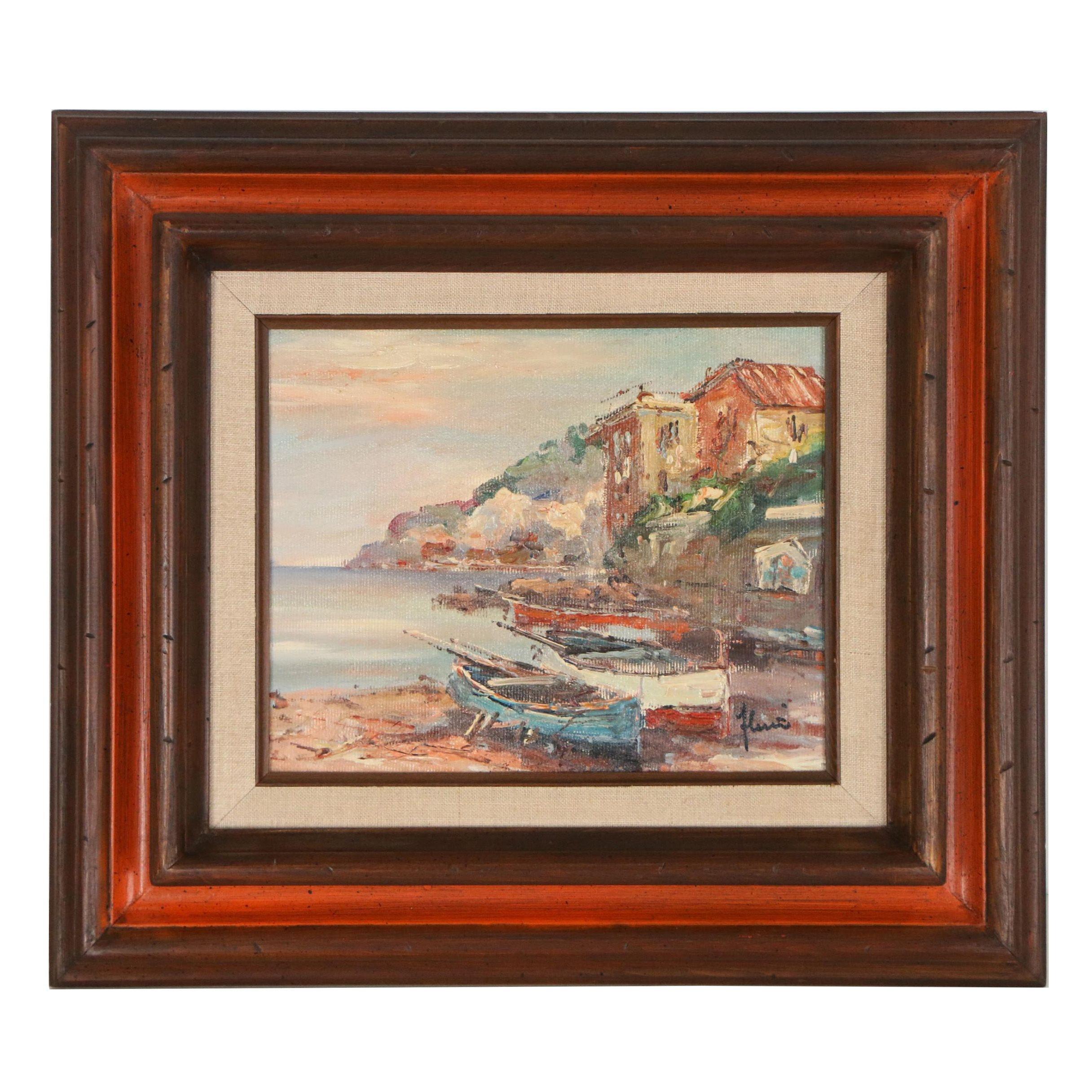 "Florio Oil Painting ""Harbor Scene"""