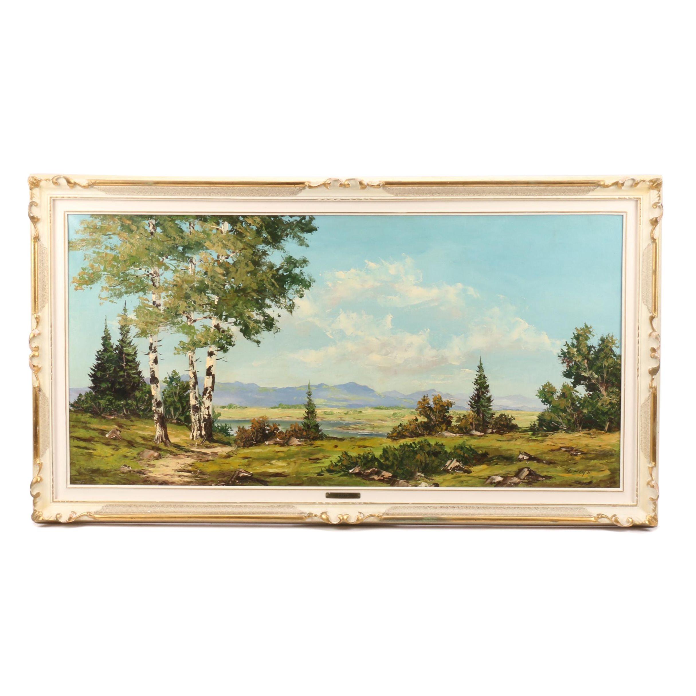 Robert Heyer Oil Painting of Expansive Landscape
