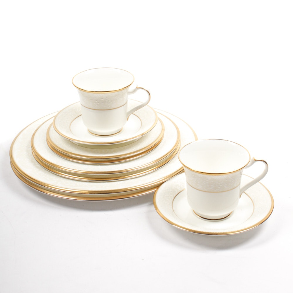 "Noritake ""White Palace"" Bone China Two-Person Dinnerware Set"