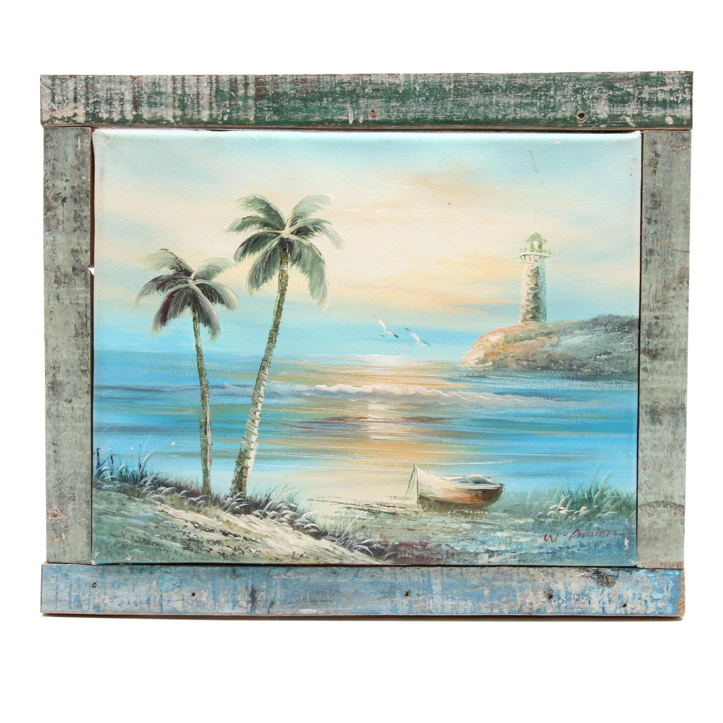 W. Amion Oil Painting of Tropical Scene with Lighthouse