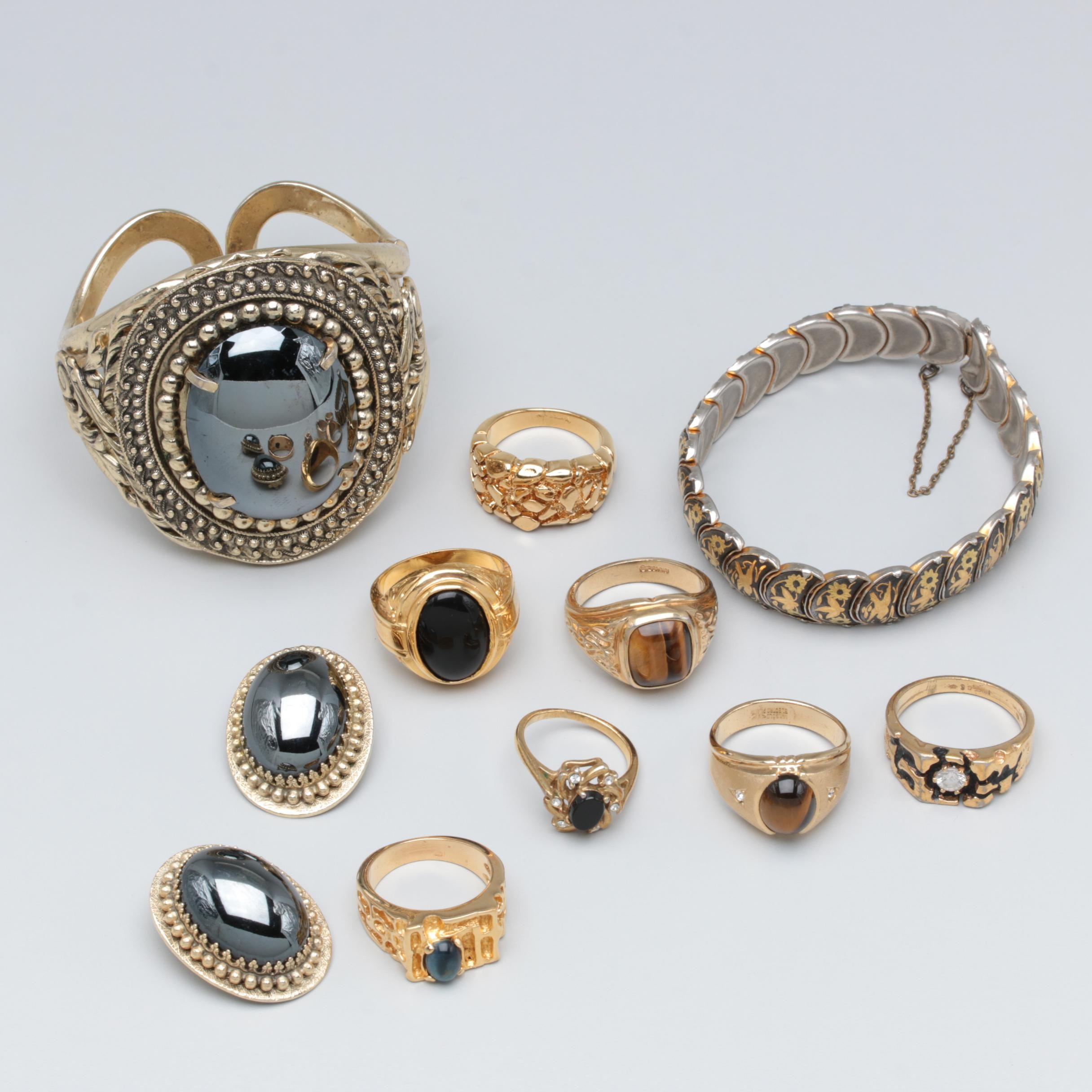 Assortment of Gold Tone Tiger's Eye, Black Onyx and Cubic Zirconia Jewelry