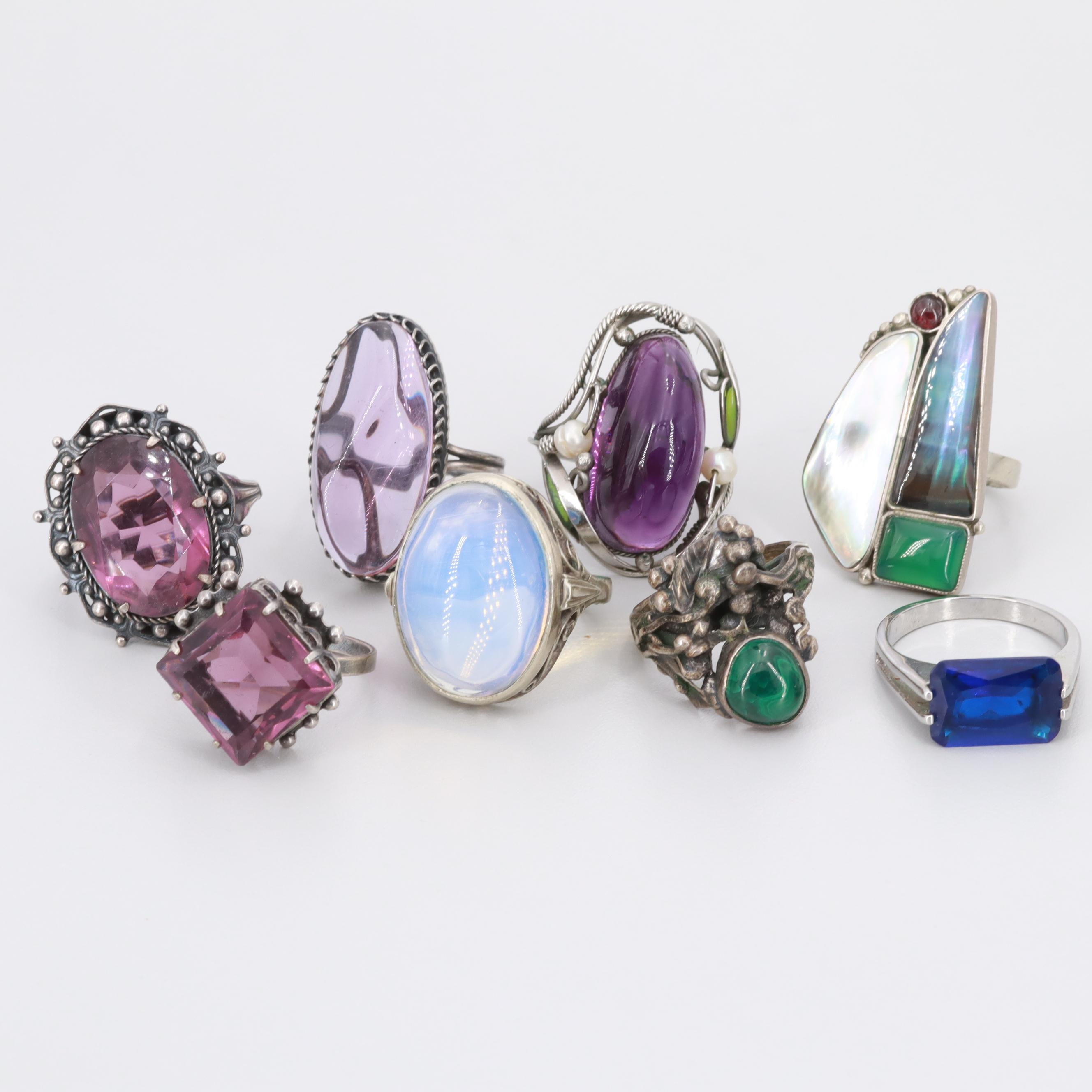 Silver Tone Chrysoprase, Cultured Pearl and Amethyst Rings