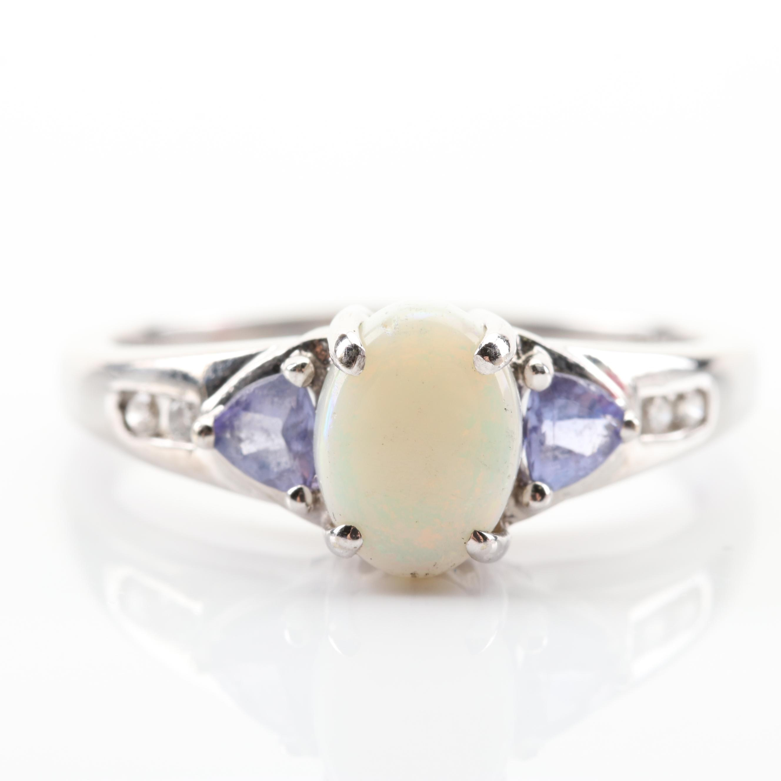 14K White Gold Opal, Tanzanite and Diamond Ring