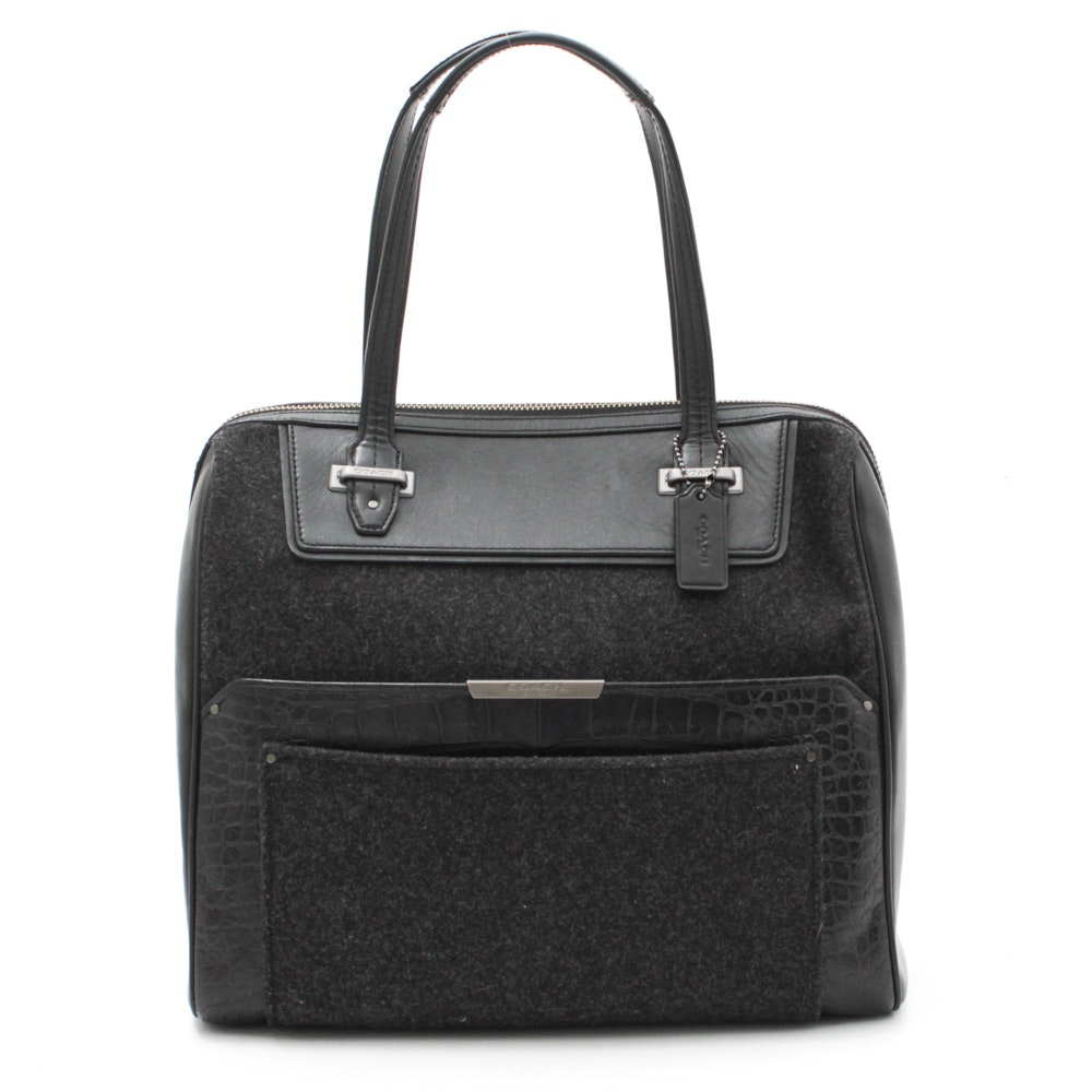 Coach Taylor Bowler Wool and Leather Satchel Bag