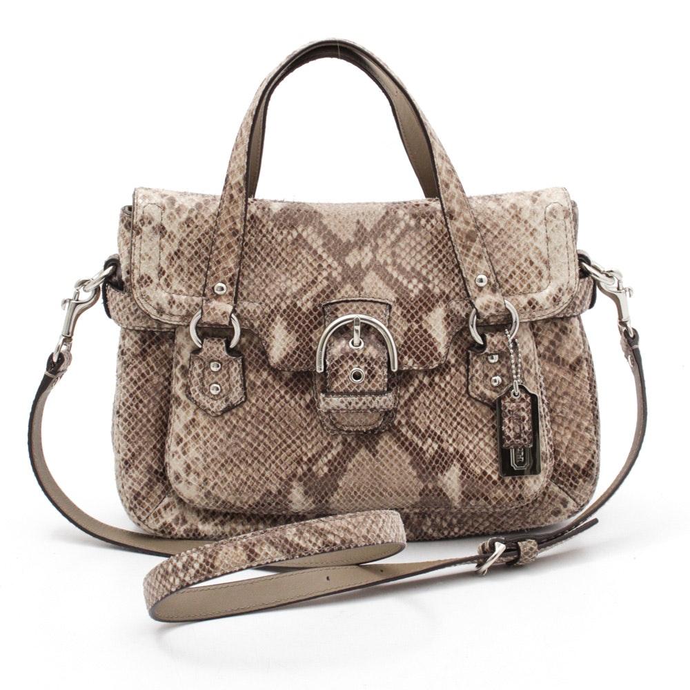Coach Campbell Python Skin Embossed Leather Handbag