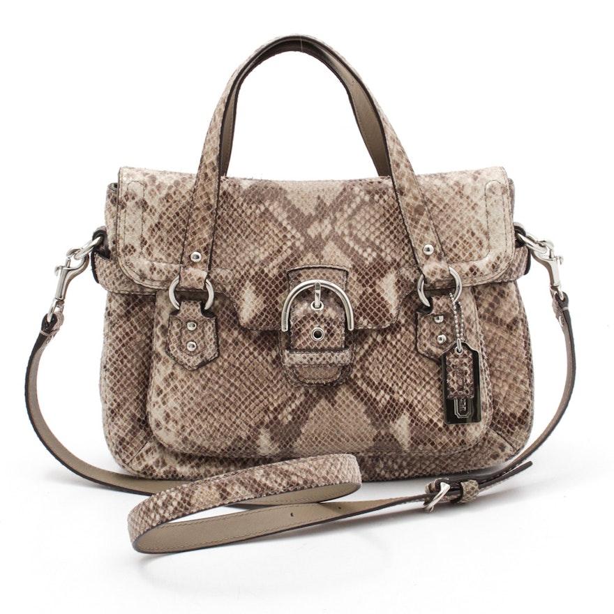 ca8045d6d53a Coach Campbell Python Skin Embossed Leather Handbag : EBTH