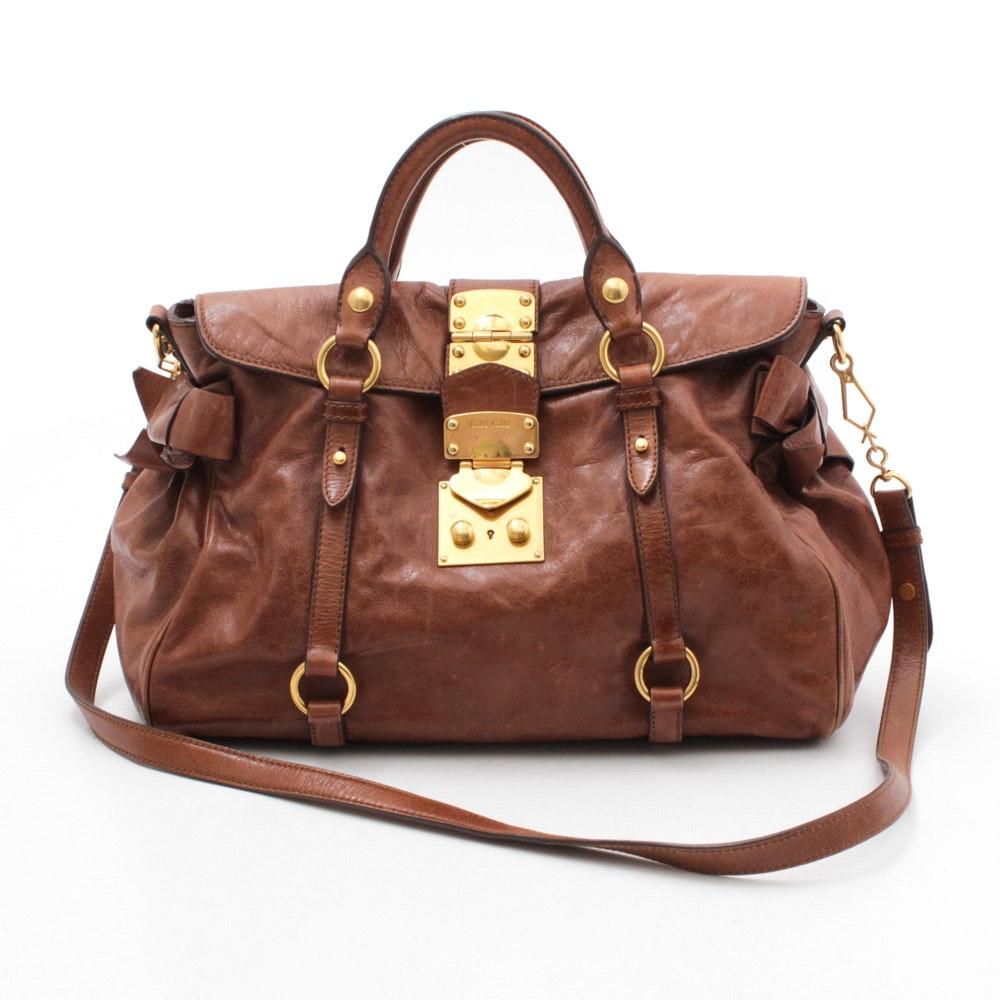 Miu Miu Brown Leather Satchel Shoulder Bag