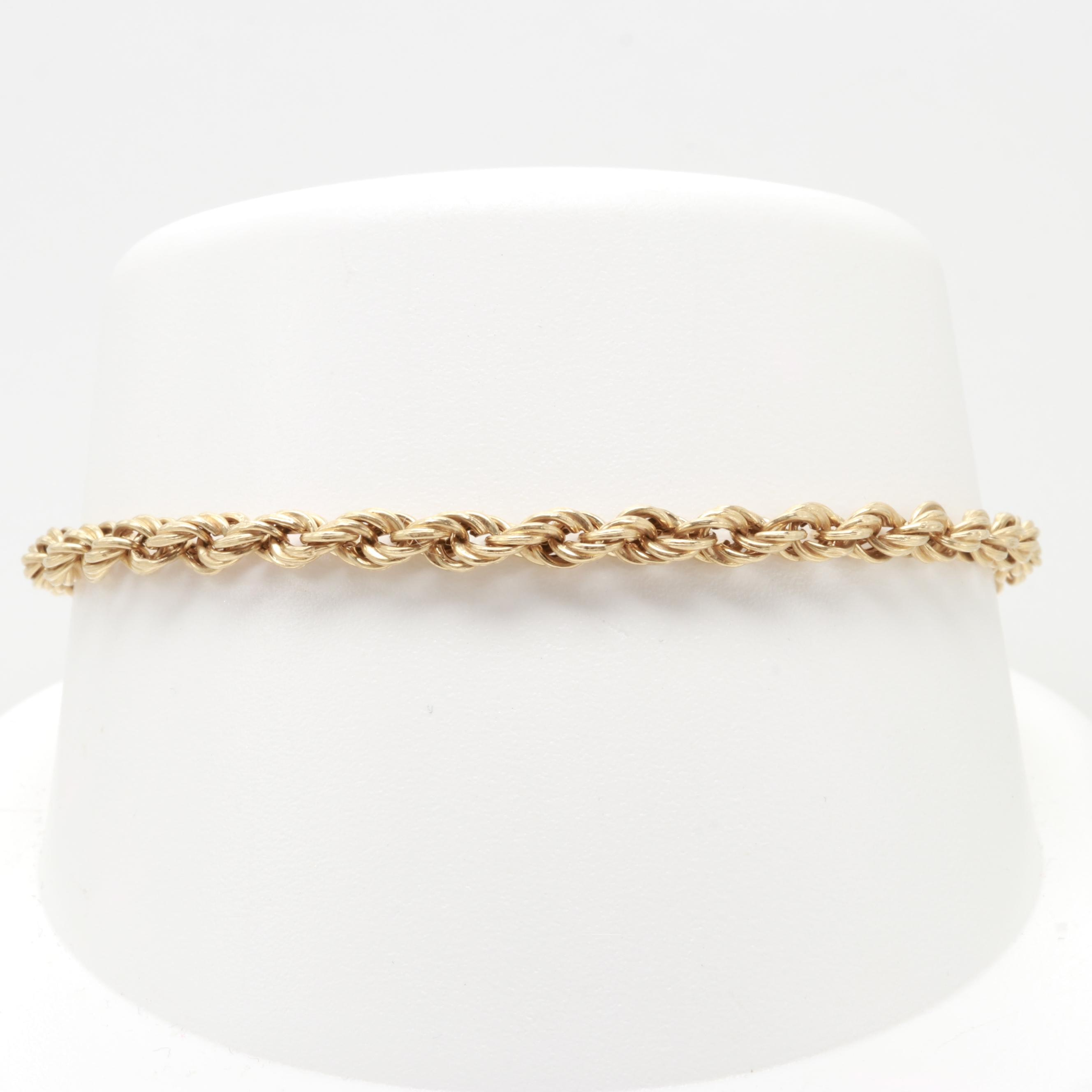 10K Yellow Gold Twisted Rope Bracelet