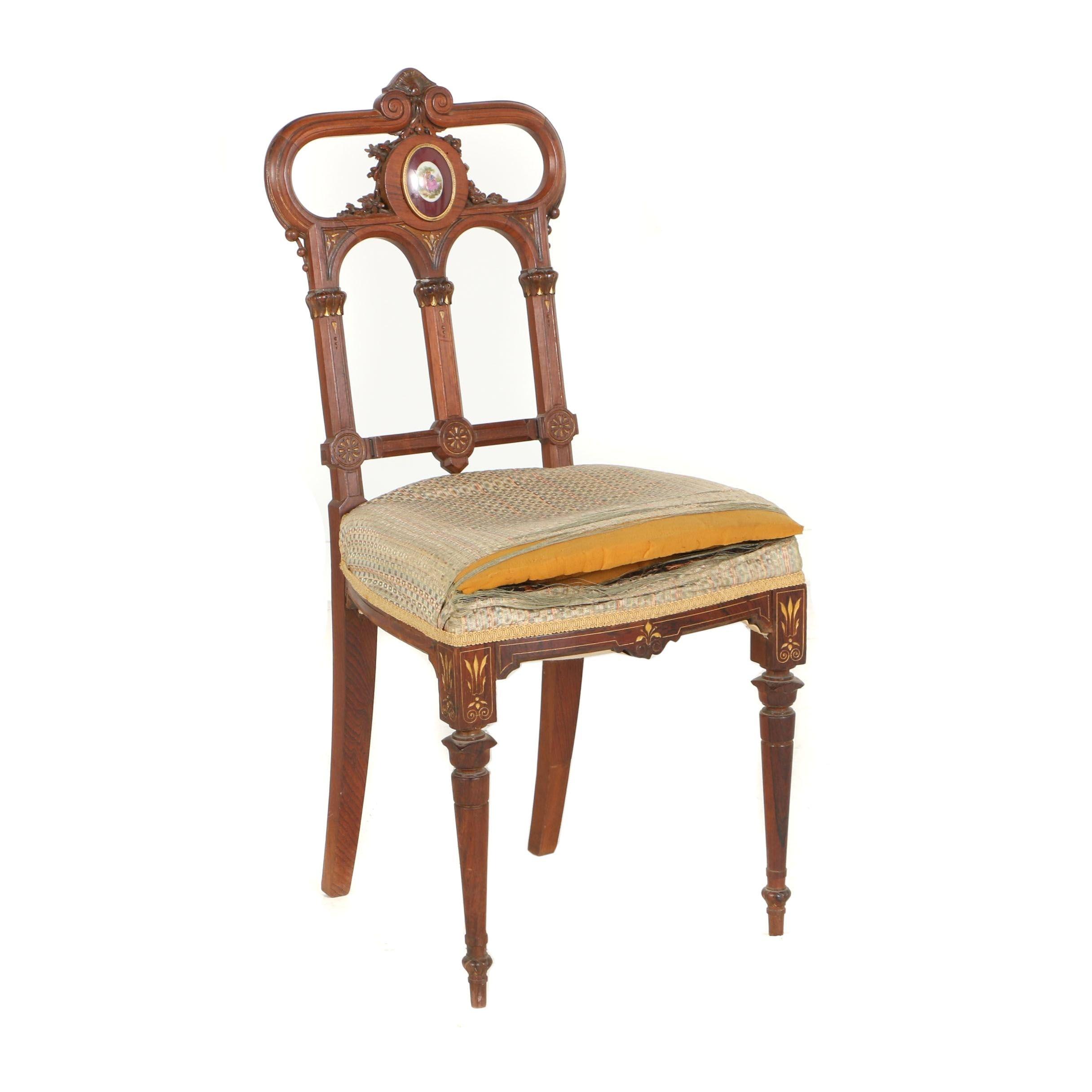 Renaissance Revival Parcel-Gilt and Porcelain-Mounted Rosewood Parlor Chair