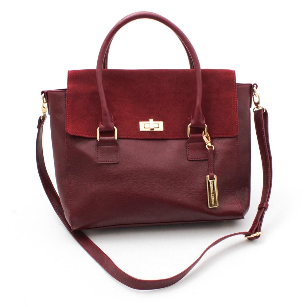 Audrey Brooks Burgundy Leather Handbag