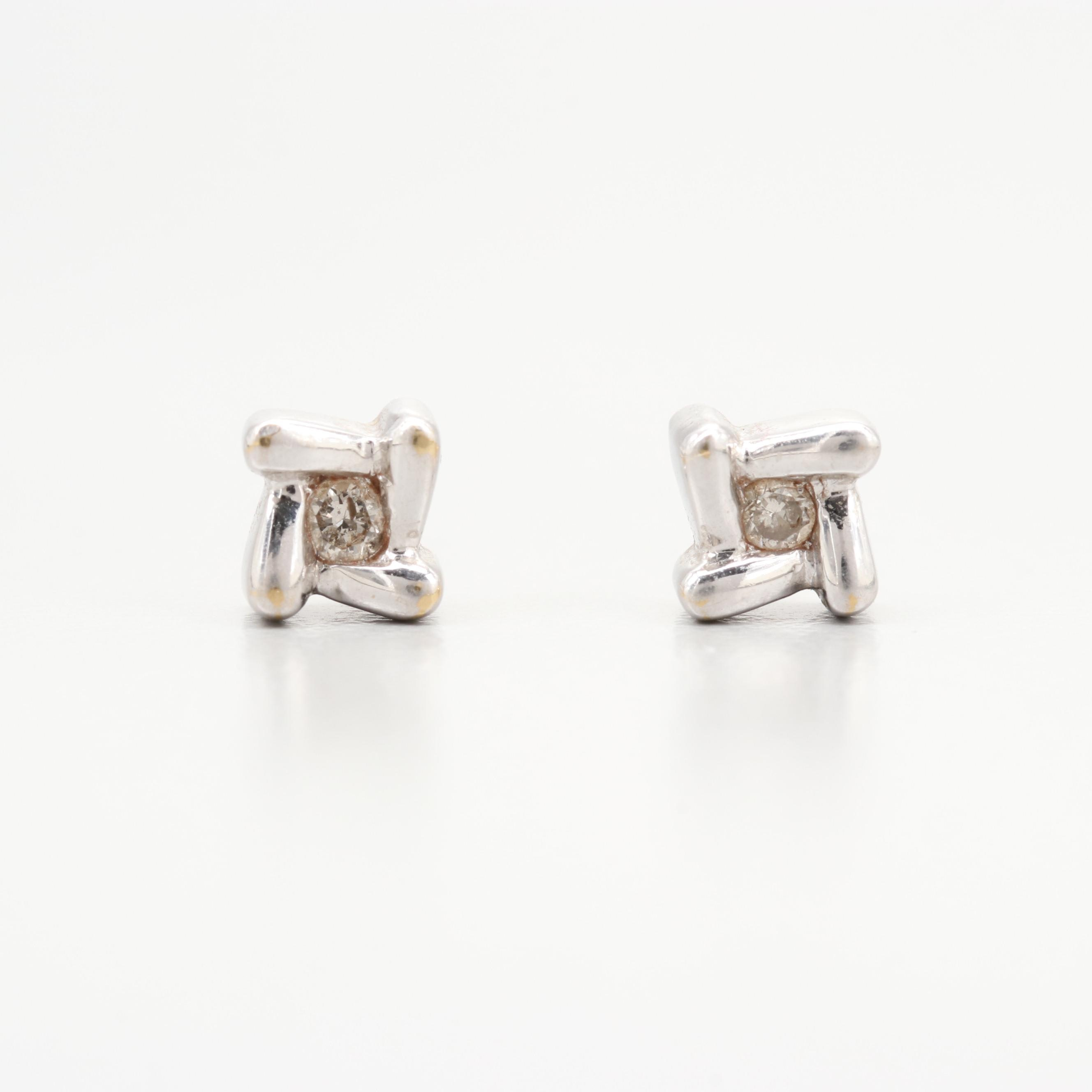 10K Two-Tone Gold Diamond Stud Earring with 14K Yellow Gold Back