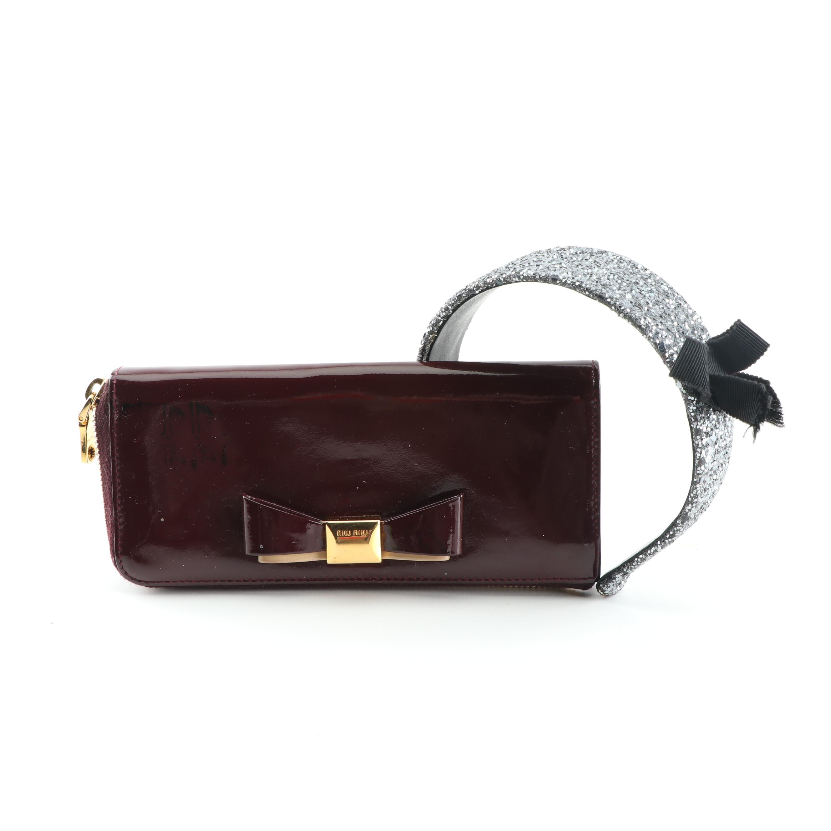 Miu Miu Patent Leather Wallet and Embellished Headband