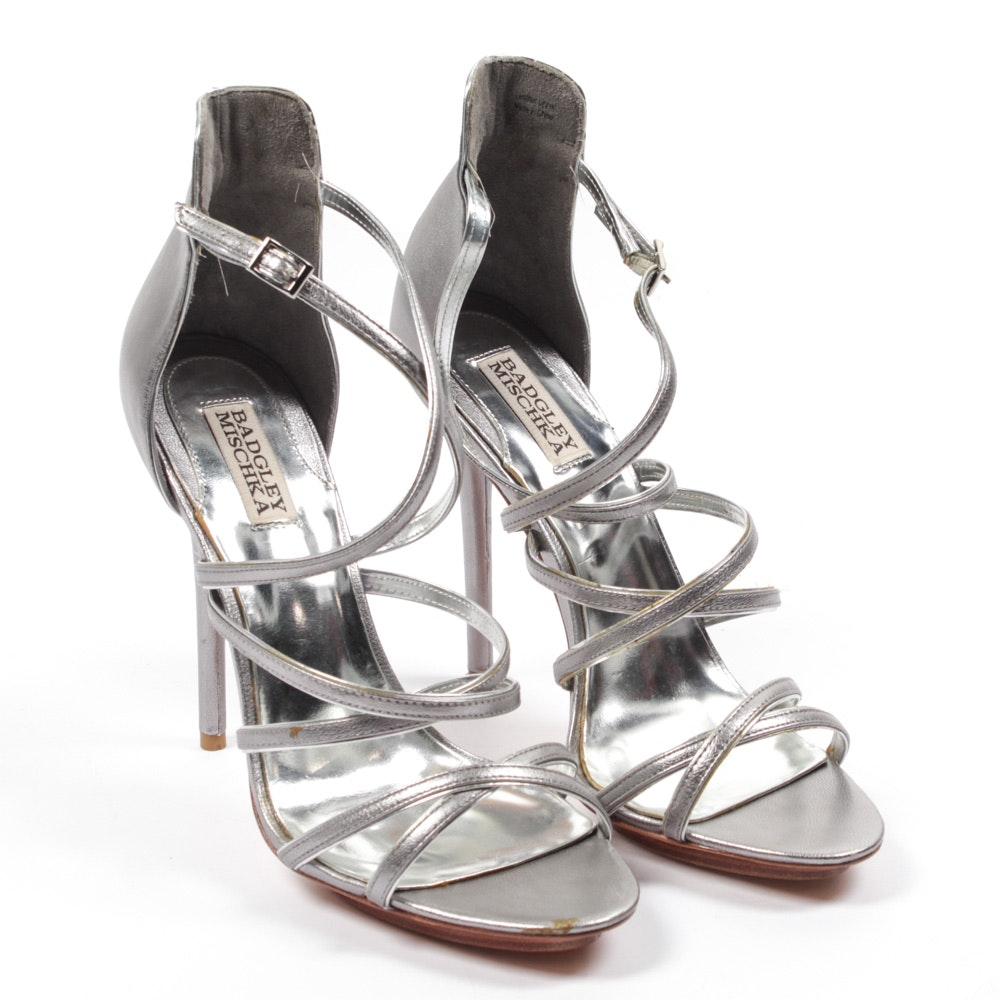 Badgley Mischka Lexie Pewter Strappy Sandals