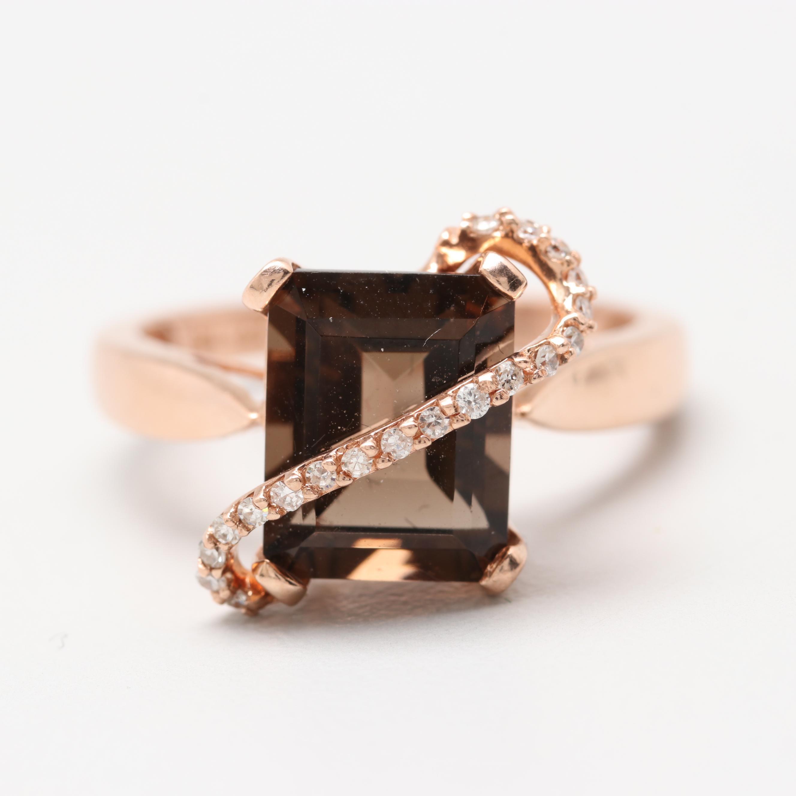 Effy 14K Rose Gold Smoky Quartz and Diamond Ring