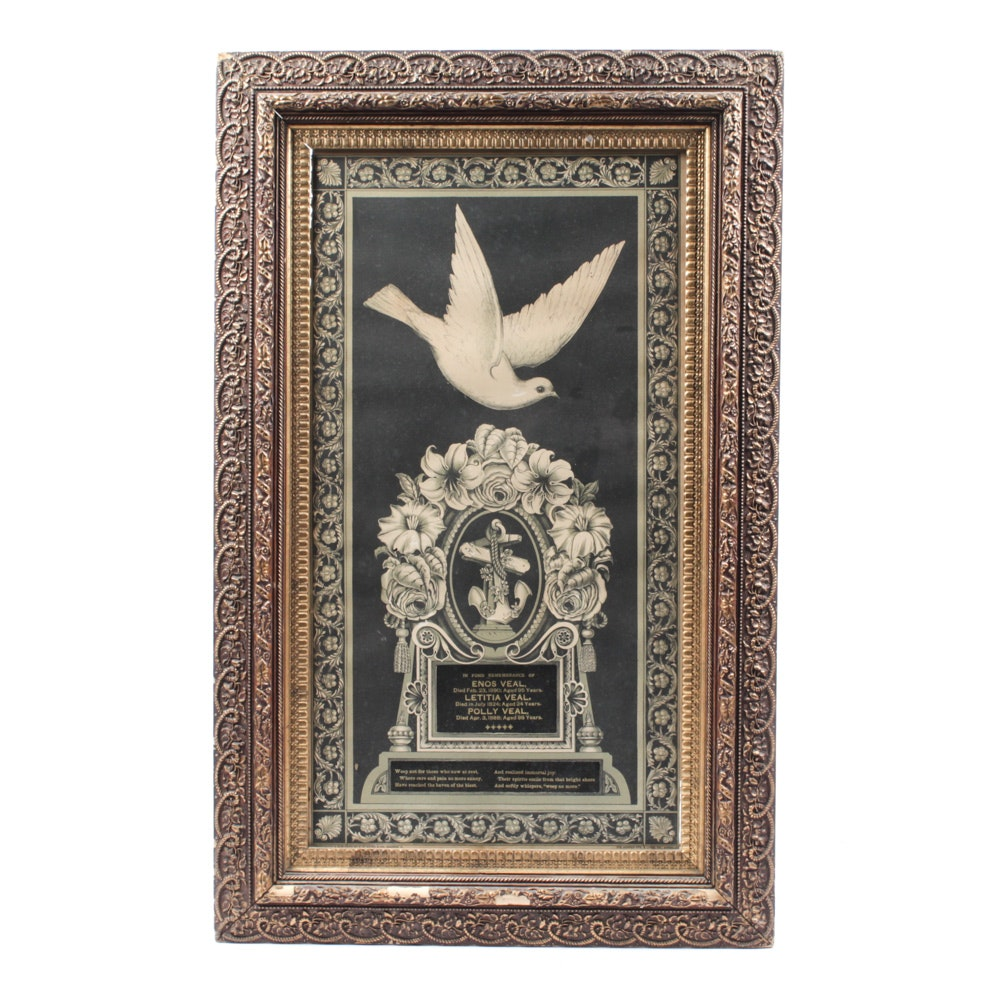 Victorian Memorial Chromolithograph and Ornamental Frame of the Enos Veal Family