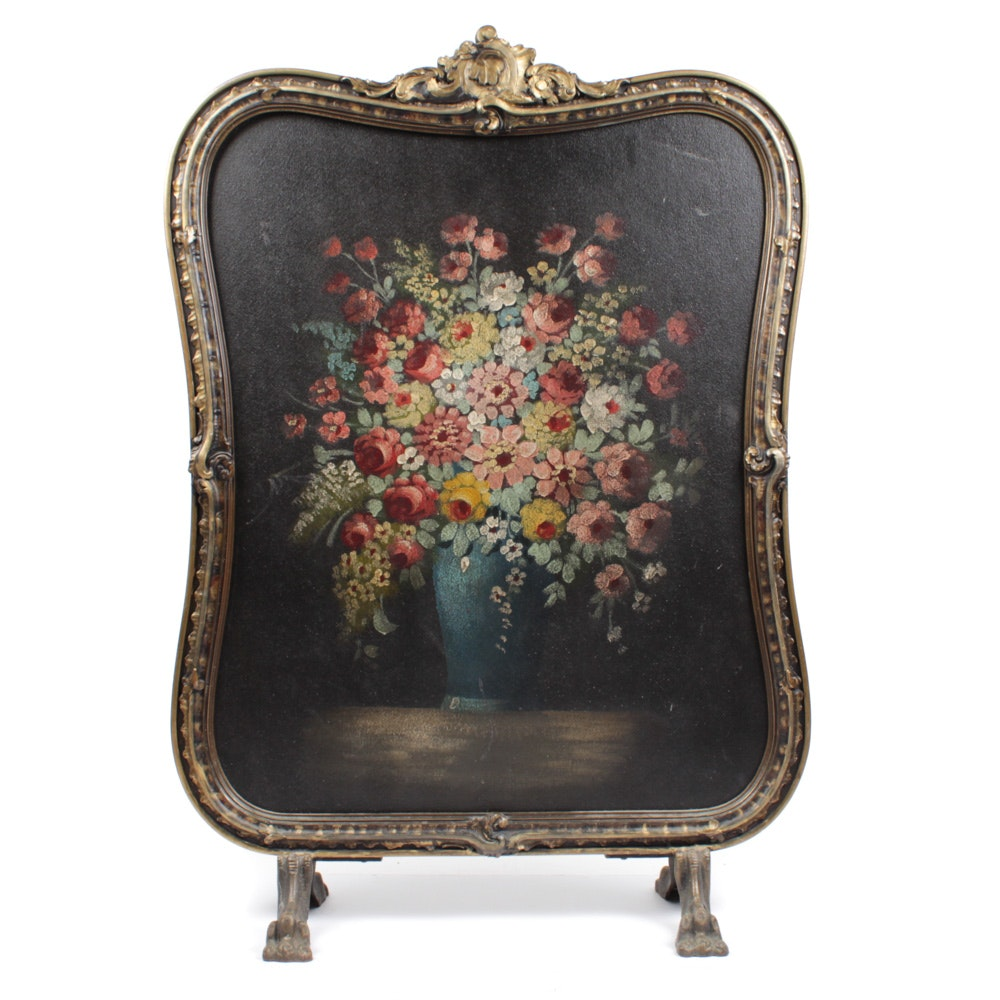 Tole Painted Still Life Fire Screen