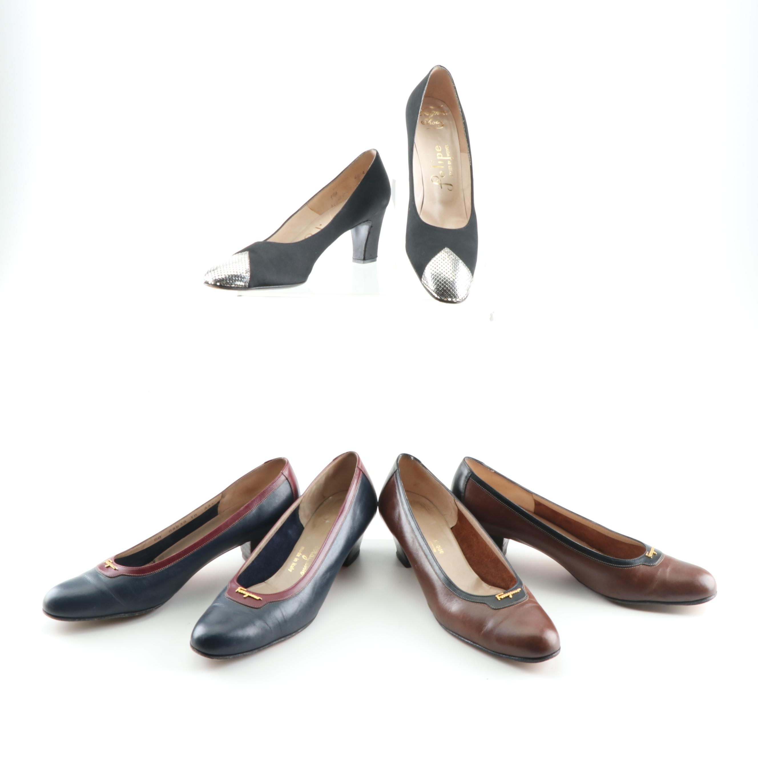 Women's Leather and Satin Pumps including Salvatore Ferragamo