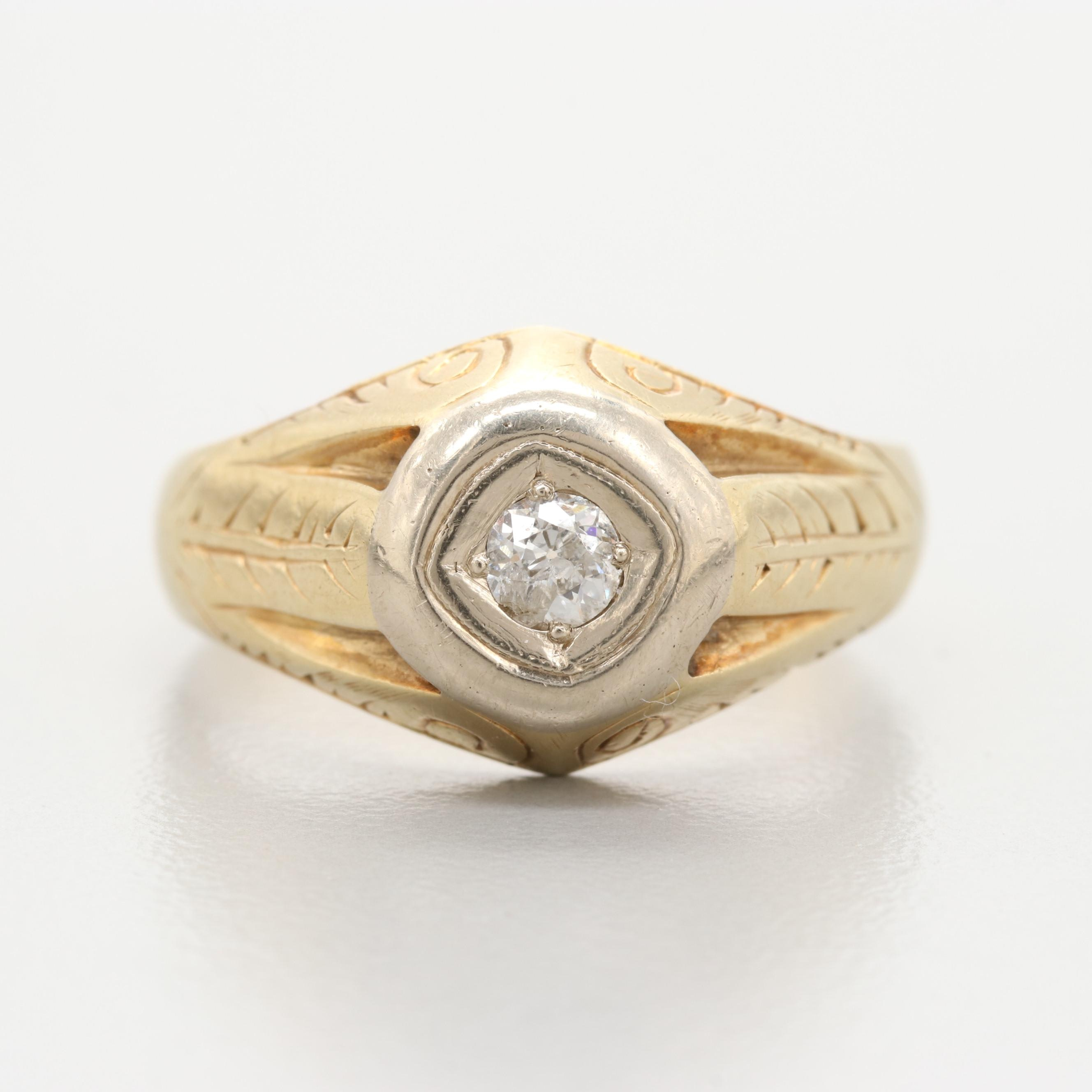 Circa 1921 14K Yellow Gold Diamond Ring