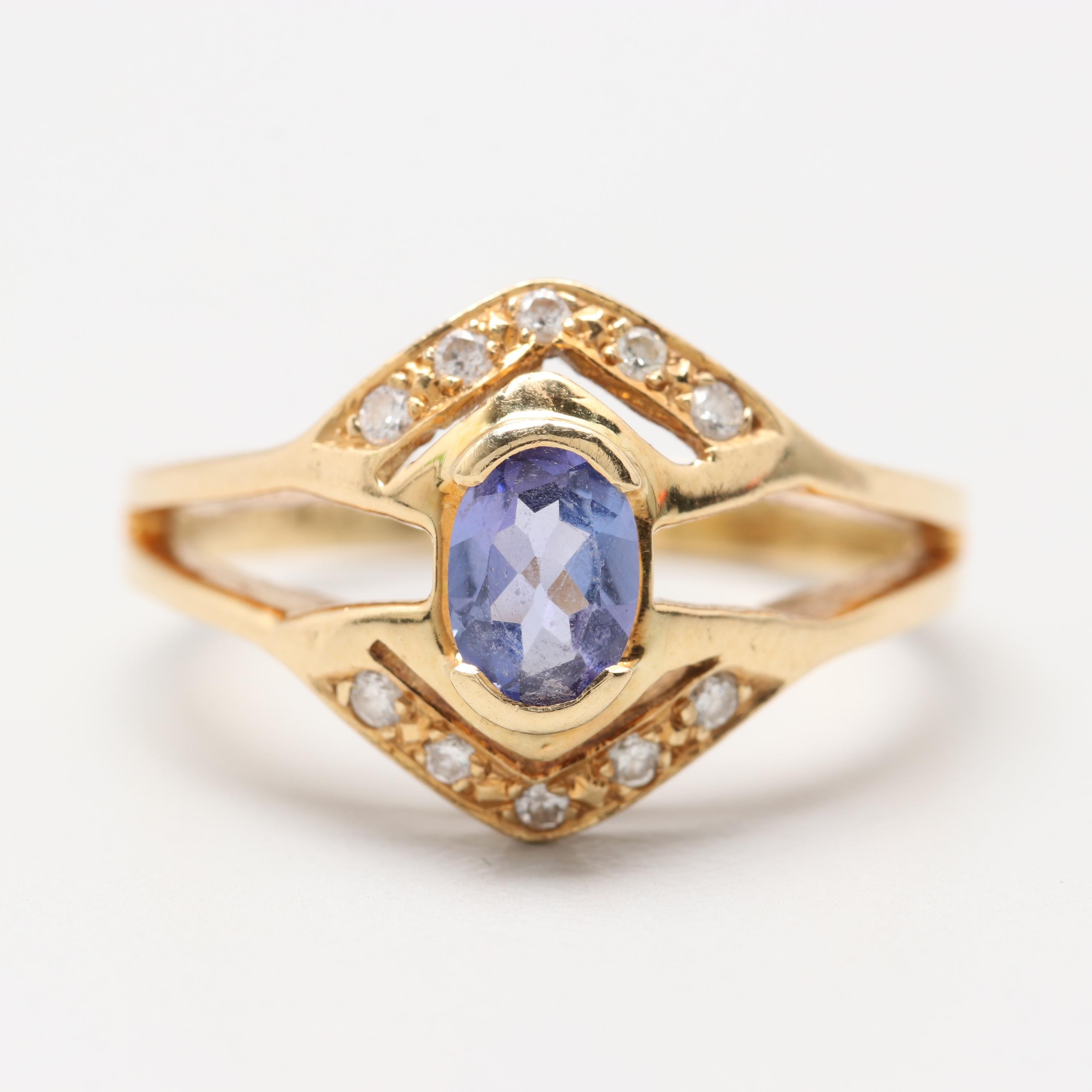 18K Yellow Gold Tanzanite and Diamond Ring