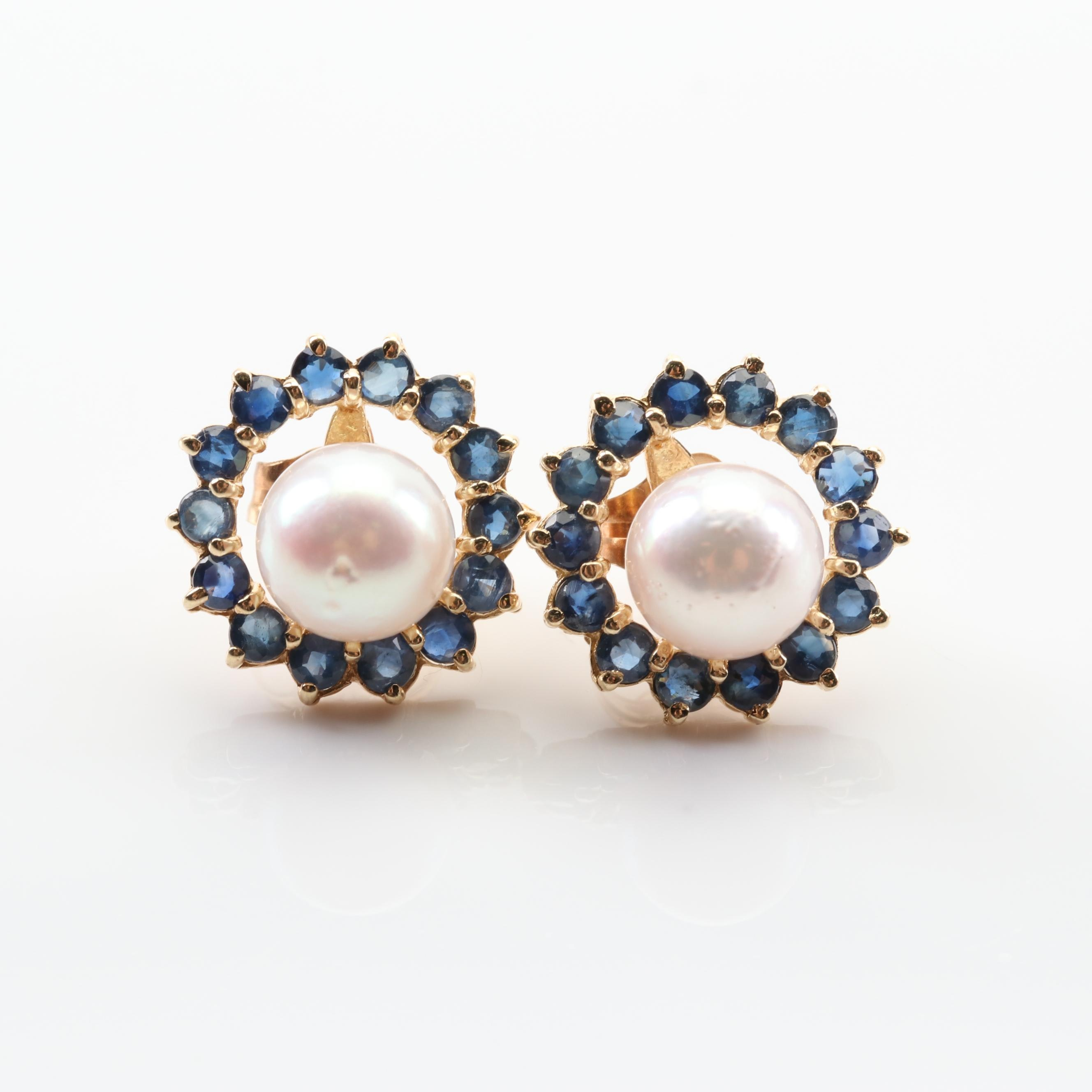 14K Yellow Gold Cultured Pearl Stud Earrings with Sapphire Jackets