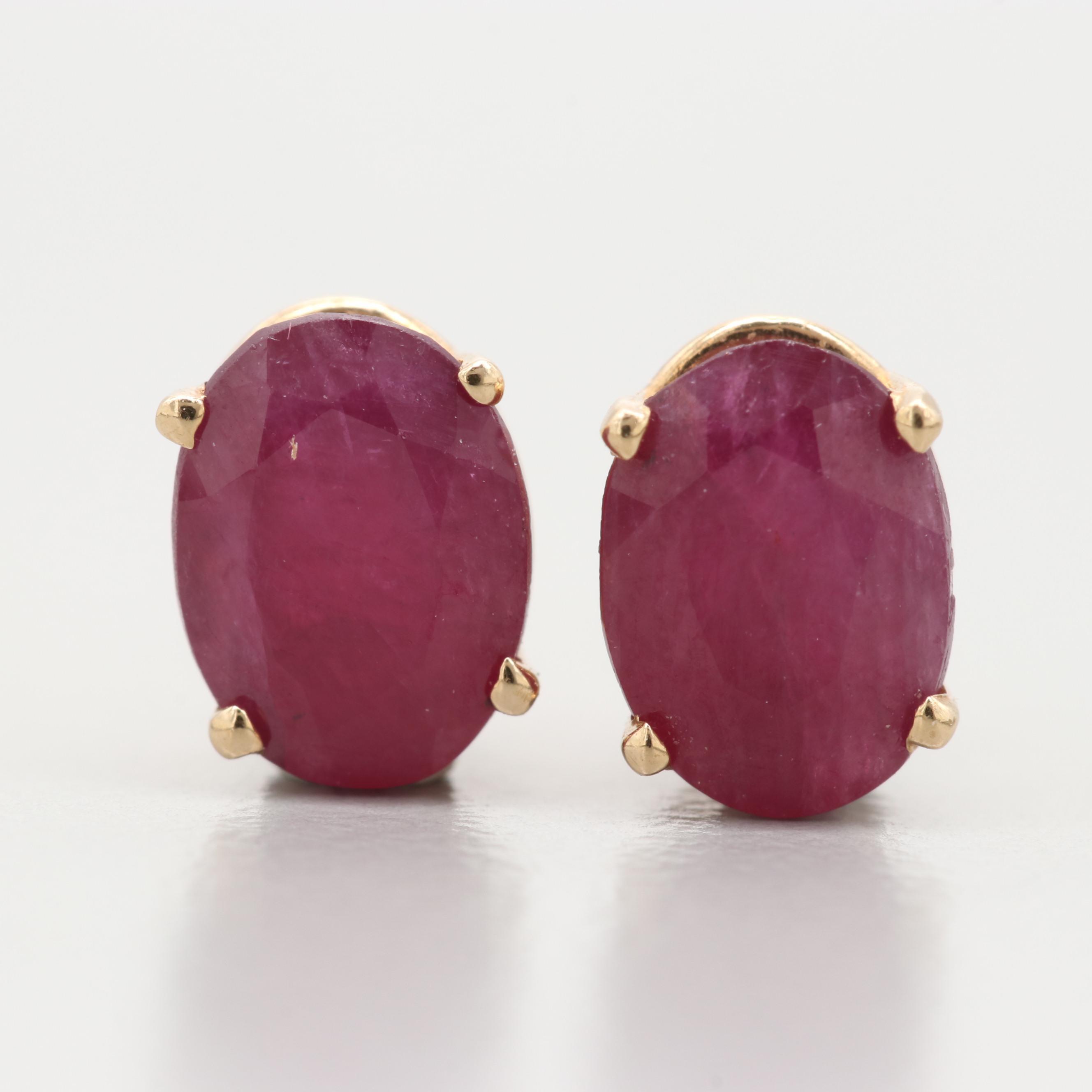 14K Yellow Gold Ruby Stud Earrings