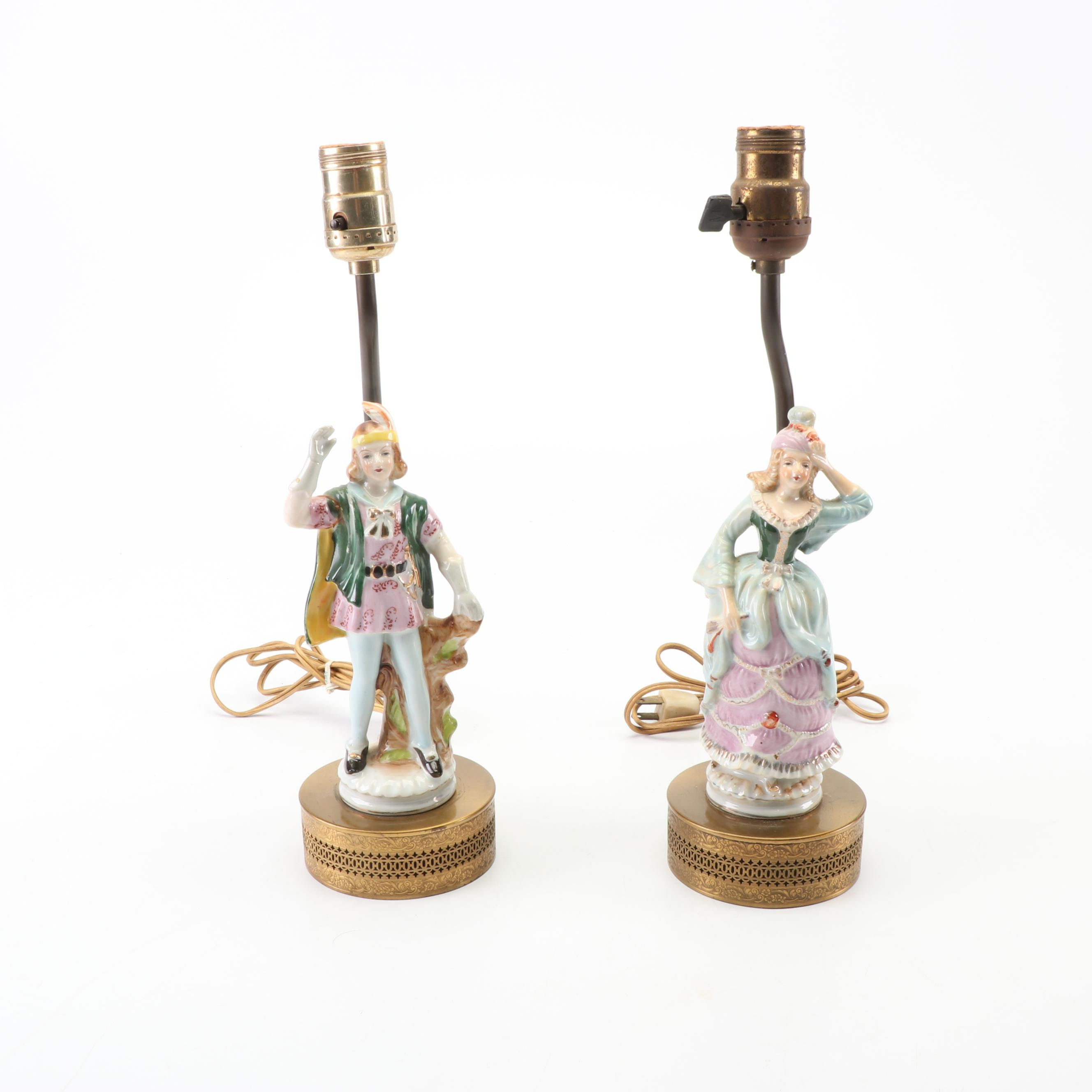 Hand-Painted Figural Male and Female Porcelain Table Lamps with Openwork Bases