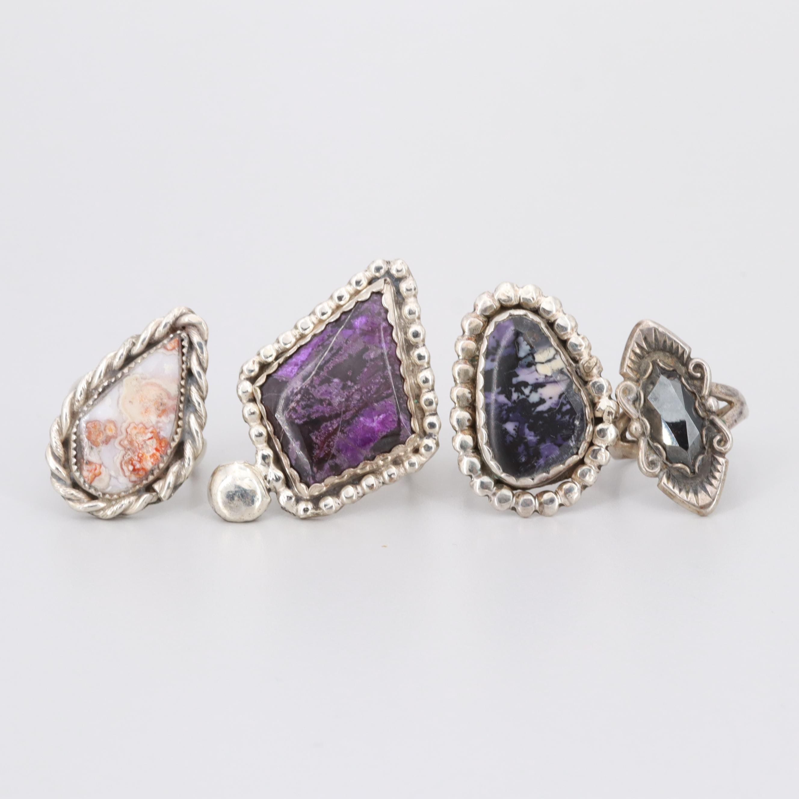 Sterling Silver Sugilite, Agate and Hematite Rings Including Bill K