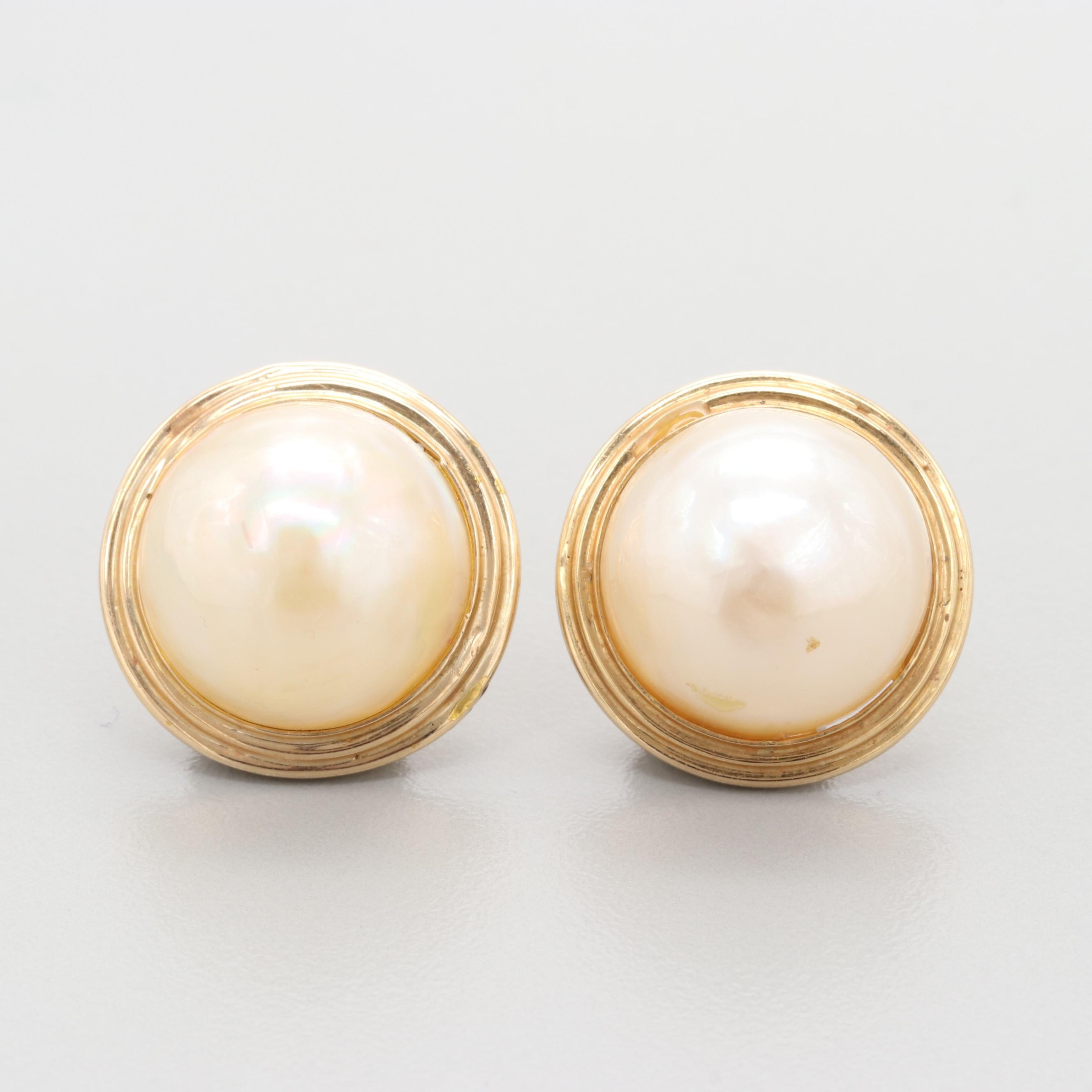10K Yellow Gold Cultured Mabe Pearl Stud Earrings