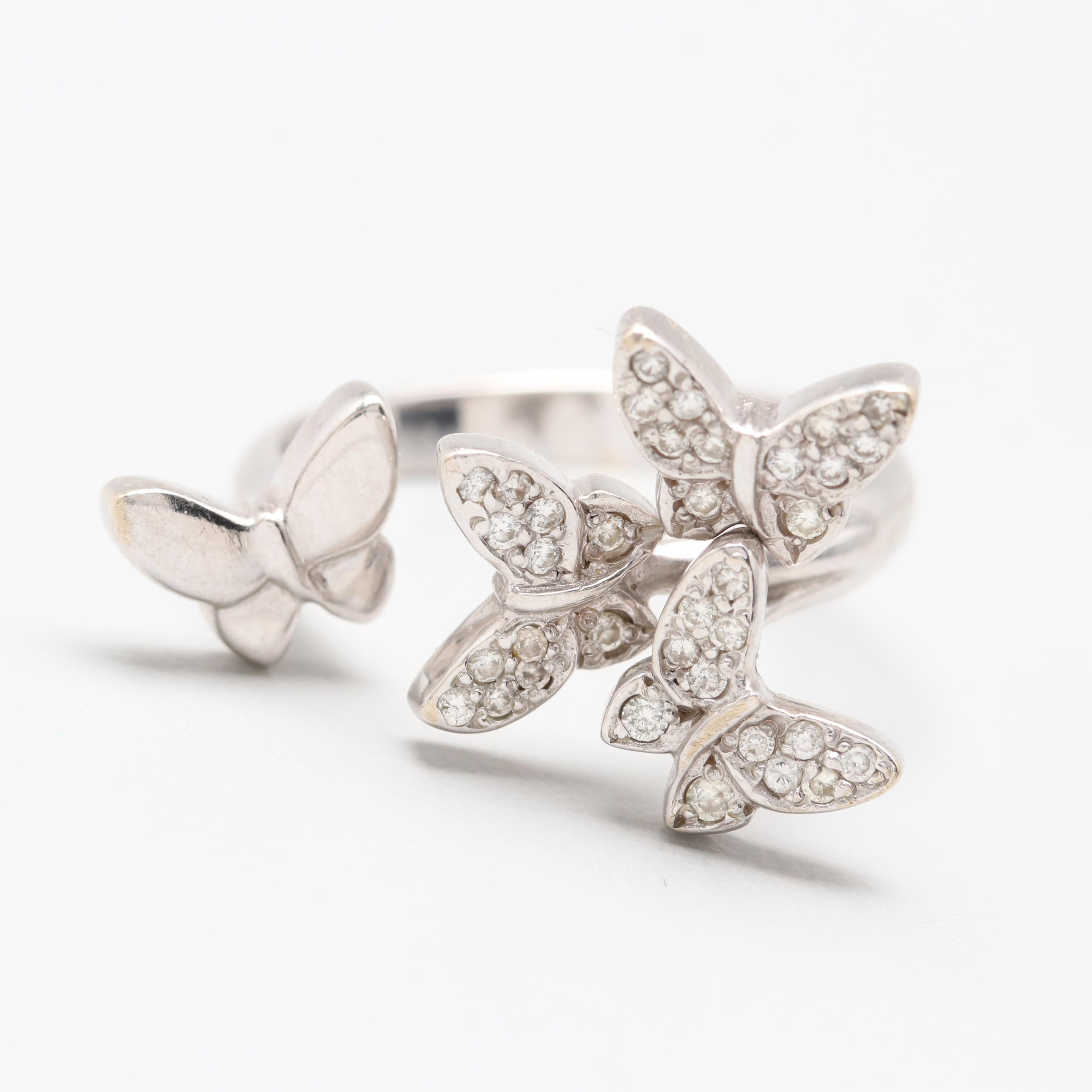 18K White Gold Diamond Adjustable Butterfly Ring