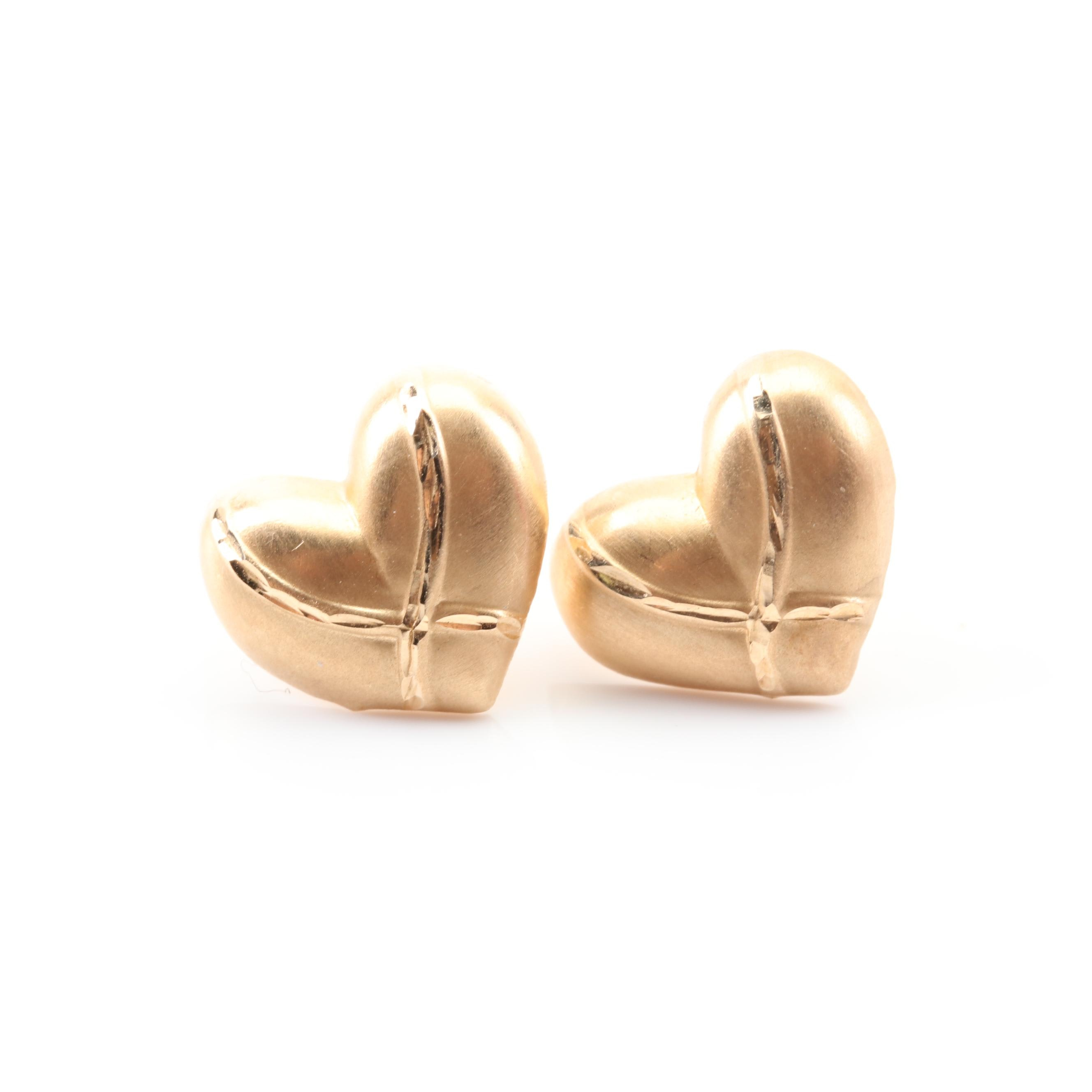 14K Yellow Gold Heart Earrings