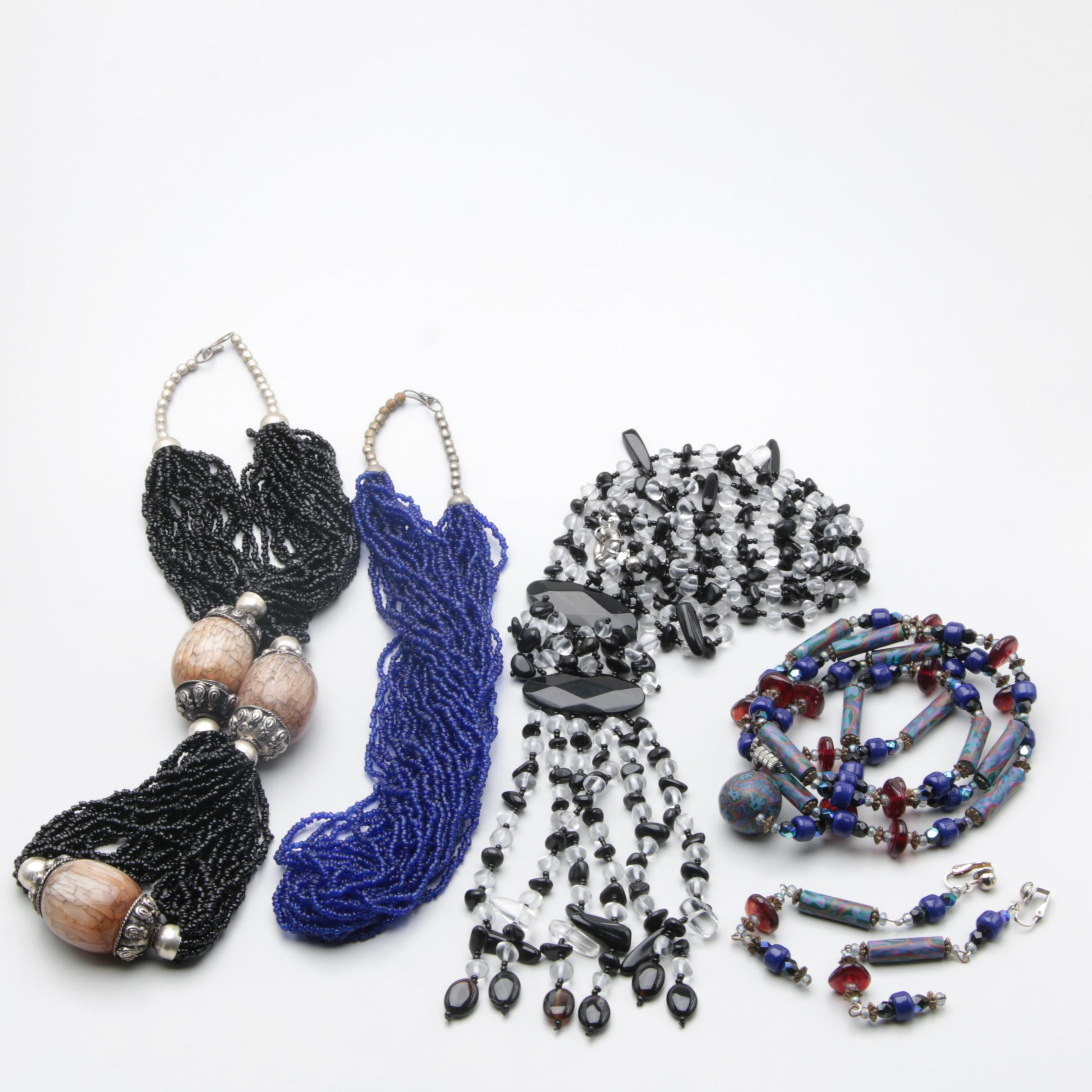 Assortment of Costume Glass Necklace and Earring Set