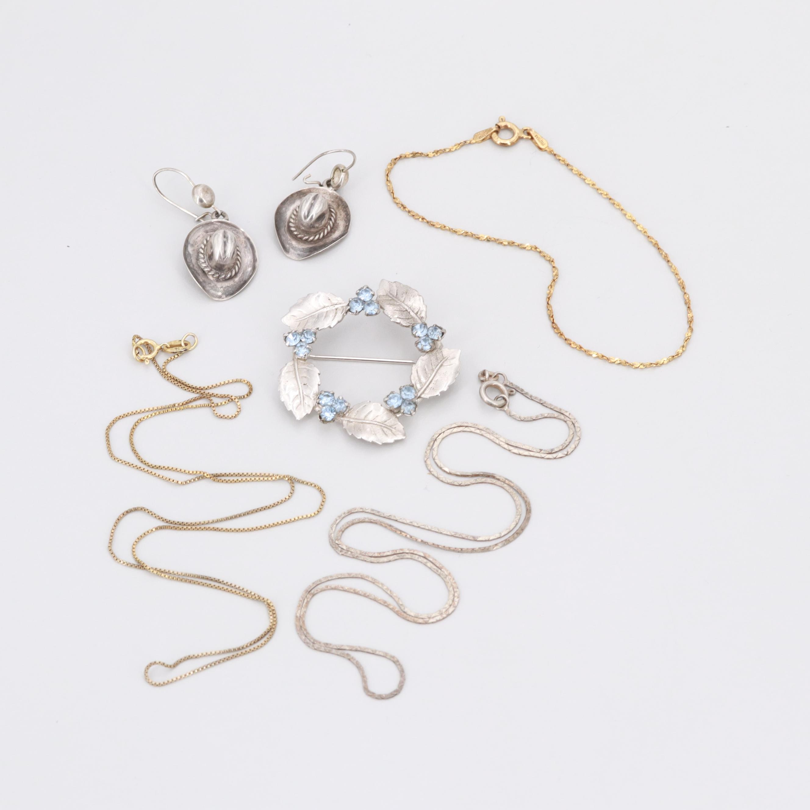 Assorted Sterling Silver and Gold Tone Glass Jewelry