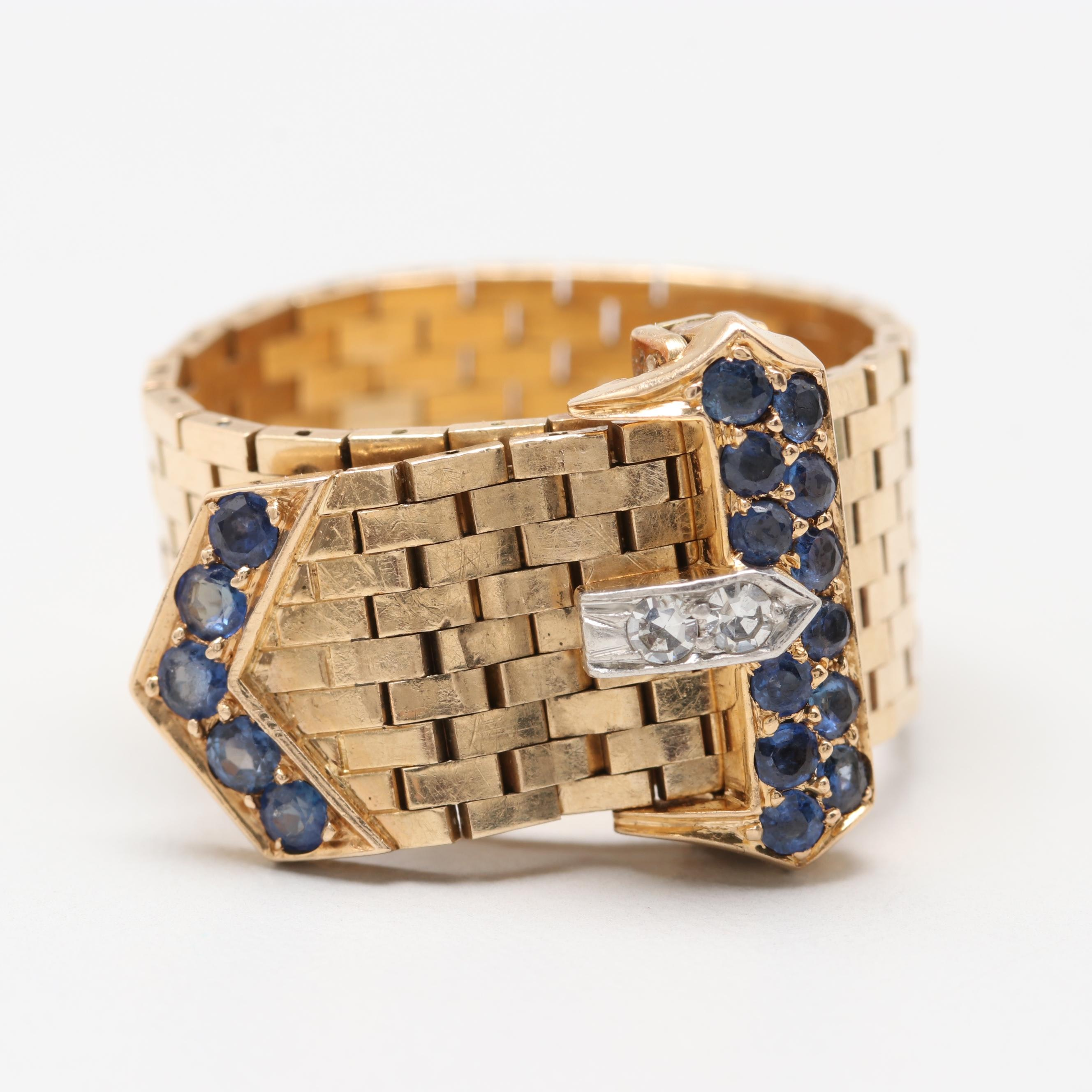 Retro 14K Yellow Gold Diamond and Sapphire Buckle Ring with Platinum Accents